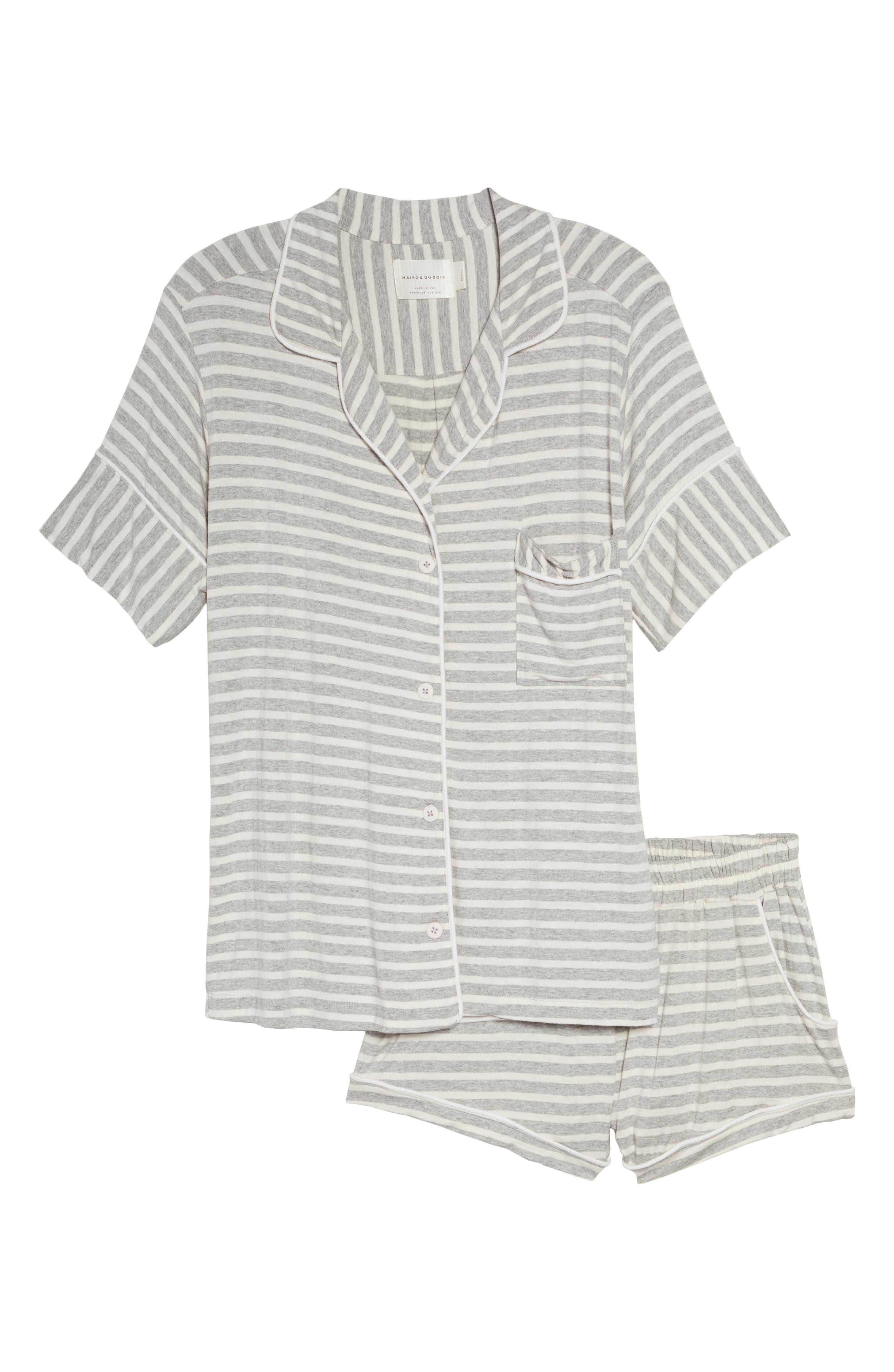 Monaco Short Pajamas,                             Alternate thumbnail 6, color,                             GREY STRIPE