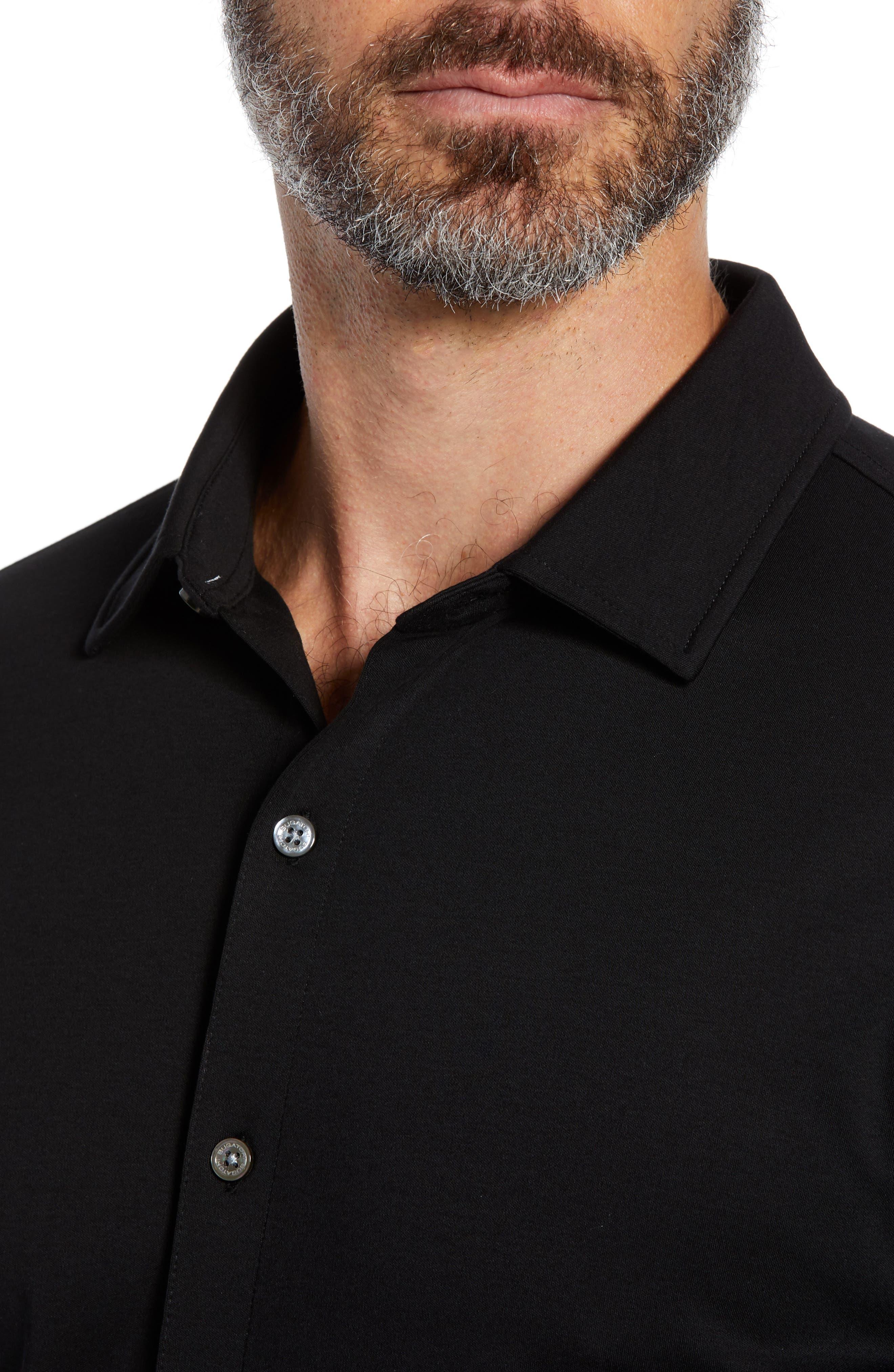 Regular Fit Knit Sport Shirt,                             Alternate thumbnail 2, color,                             BLACK
