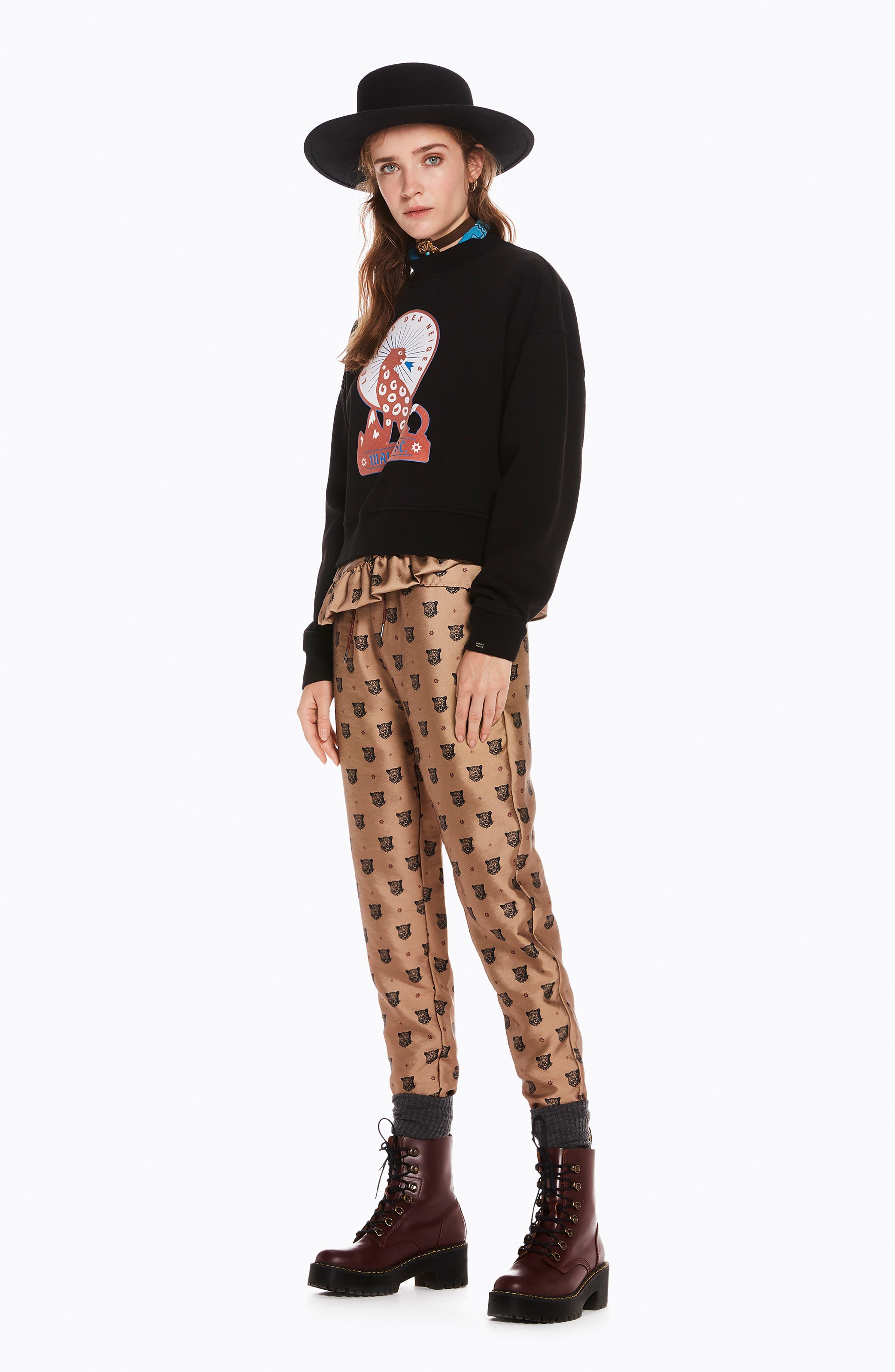 Tailored Leopard Pants,                             Alternate thumbnail 5, color,                             GOLD W/ LEOPARD PRINT