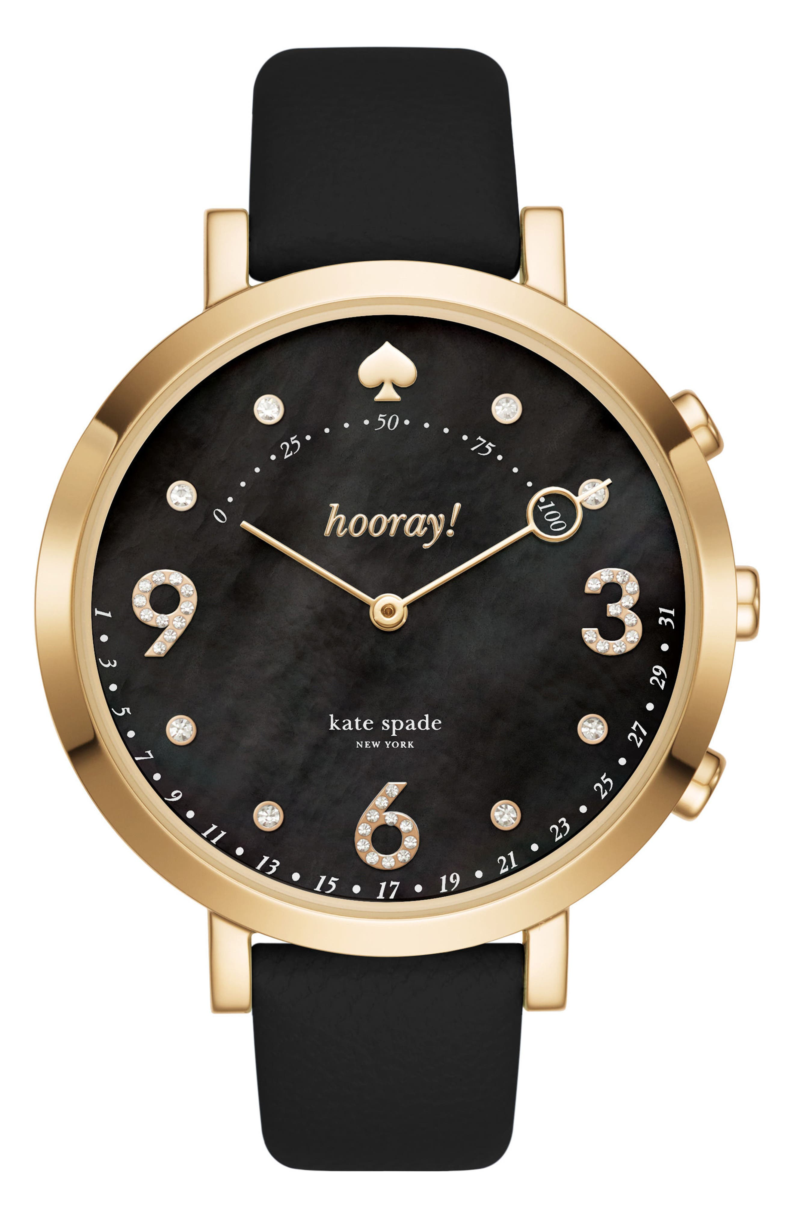 monterey hybrid leather strap watch, 41mm,                             Main thumbnail 1, color,                             001