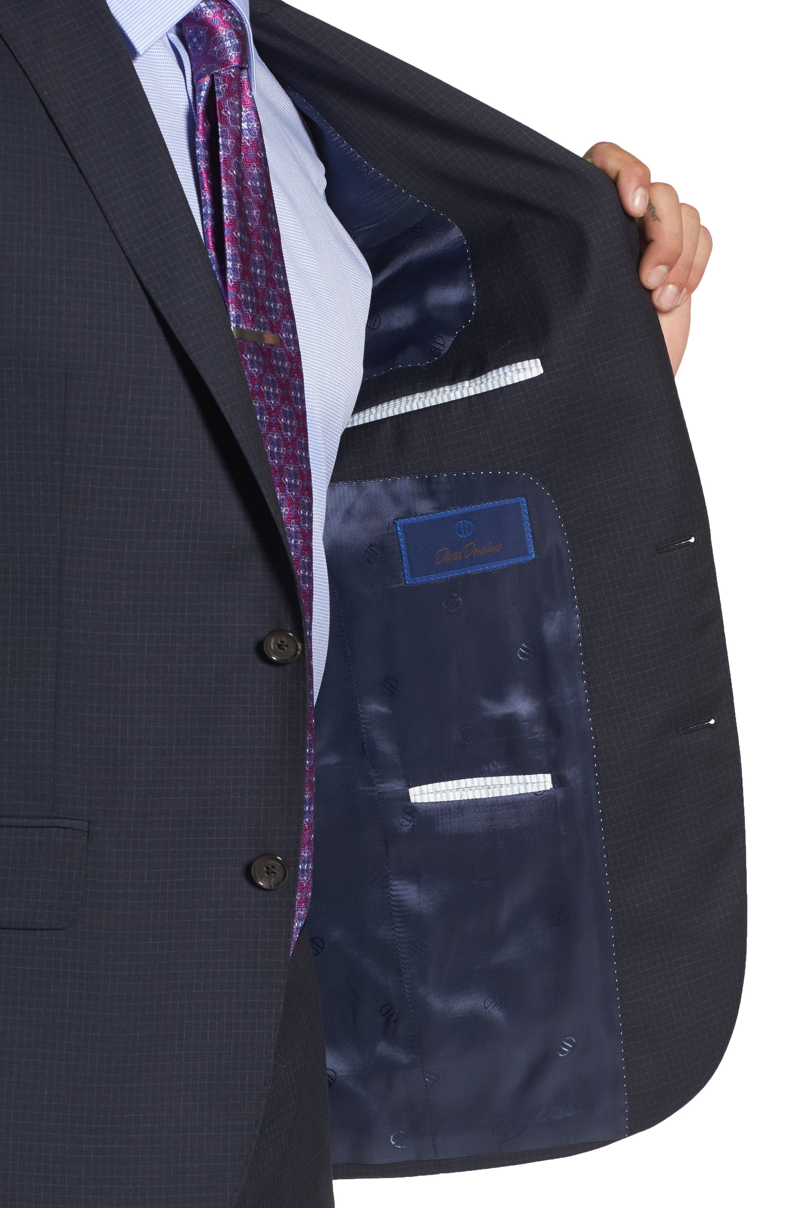 Ryan Classic Fit Check Wool Suit,                             Alternate thumbnail 4, color,                             410