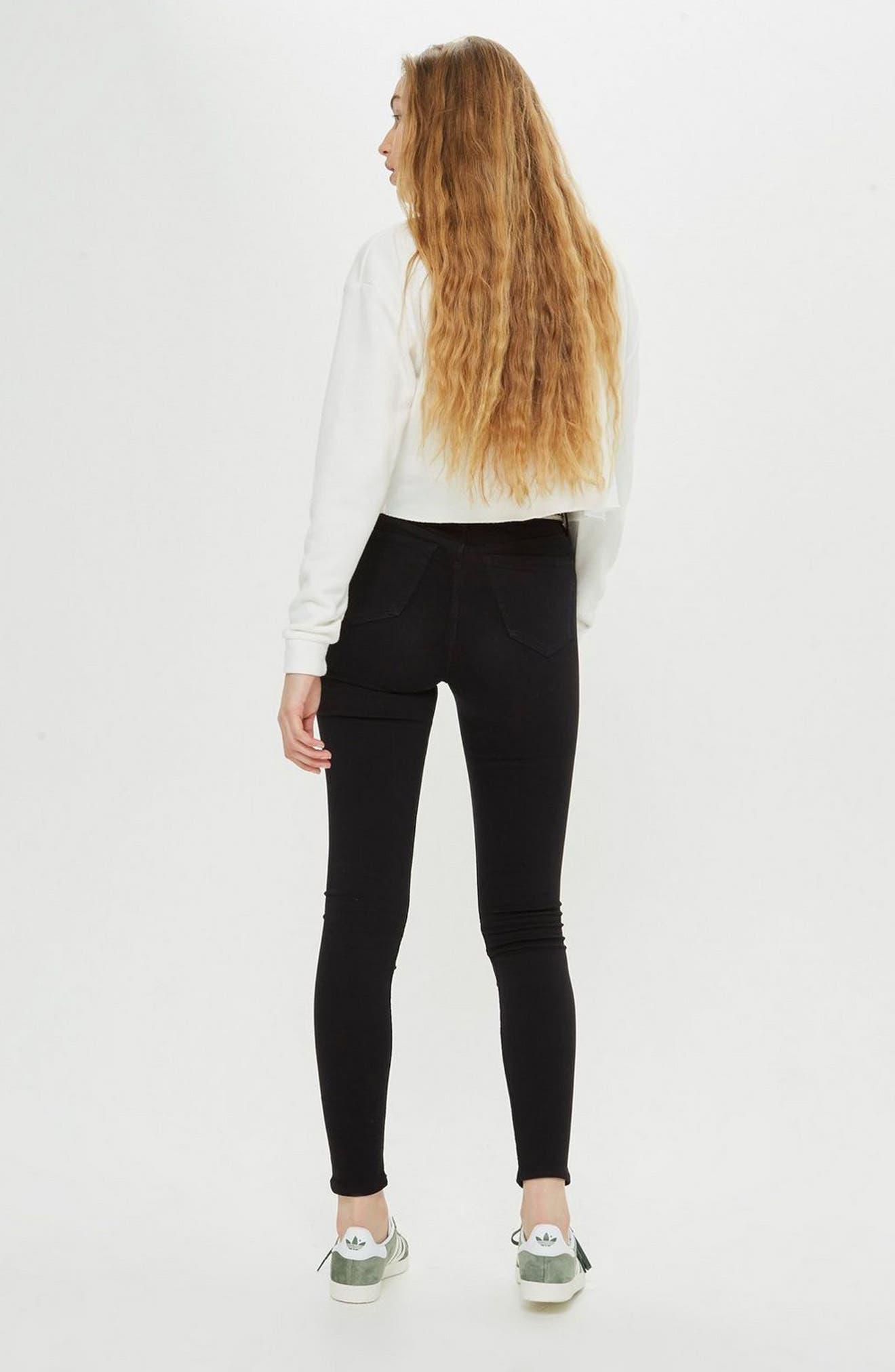 Jamie High Waist Skinny Jeans,                             Alternate thumbnail 4, color,                             BLACK
