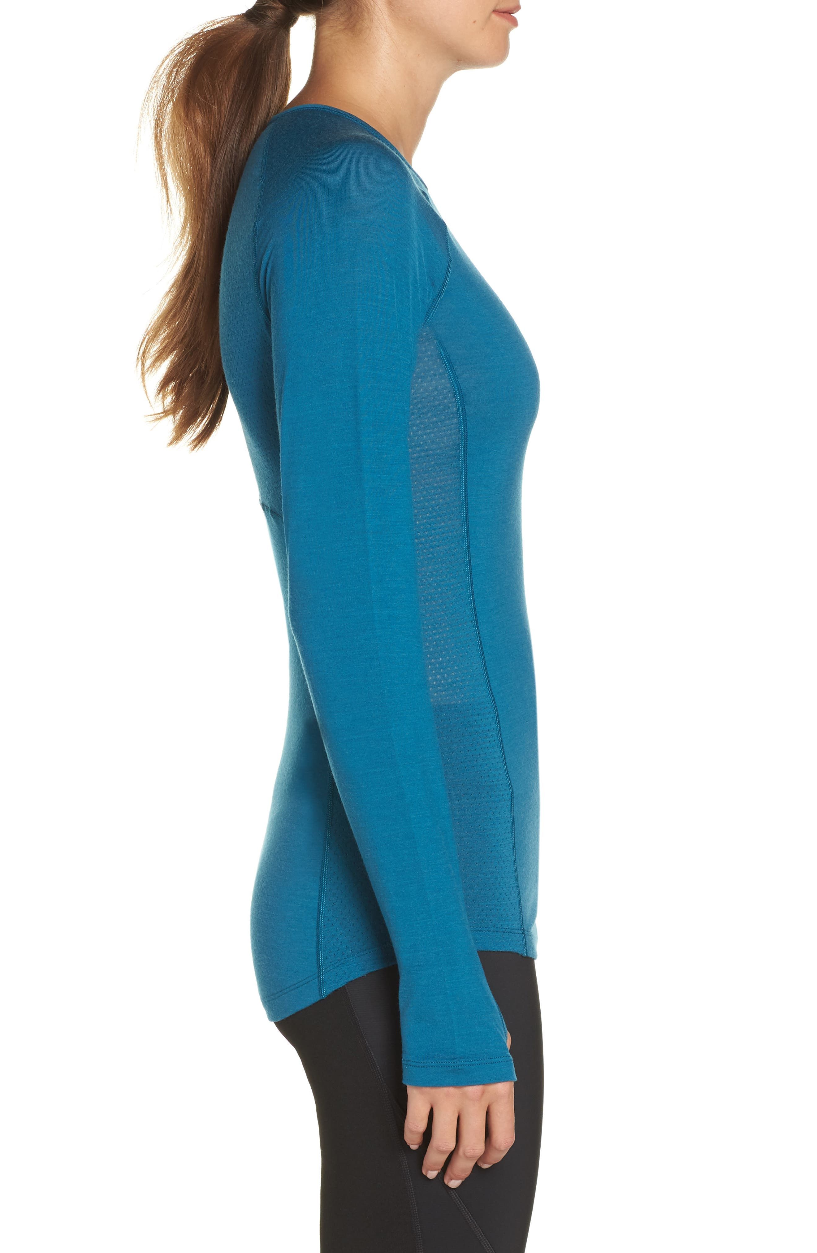 BodyfitZONE<sup>™</sup> 150 Zone Merino Wool Blend Base Layer Tee,                             Alternate thumbnail 3, color,                             KING FISCHER/ ARCTIC TEAL