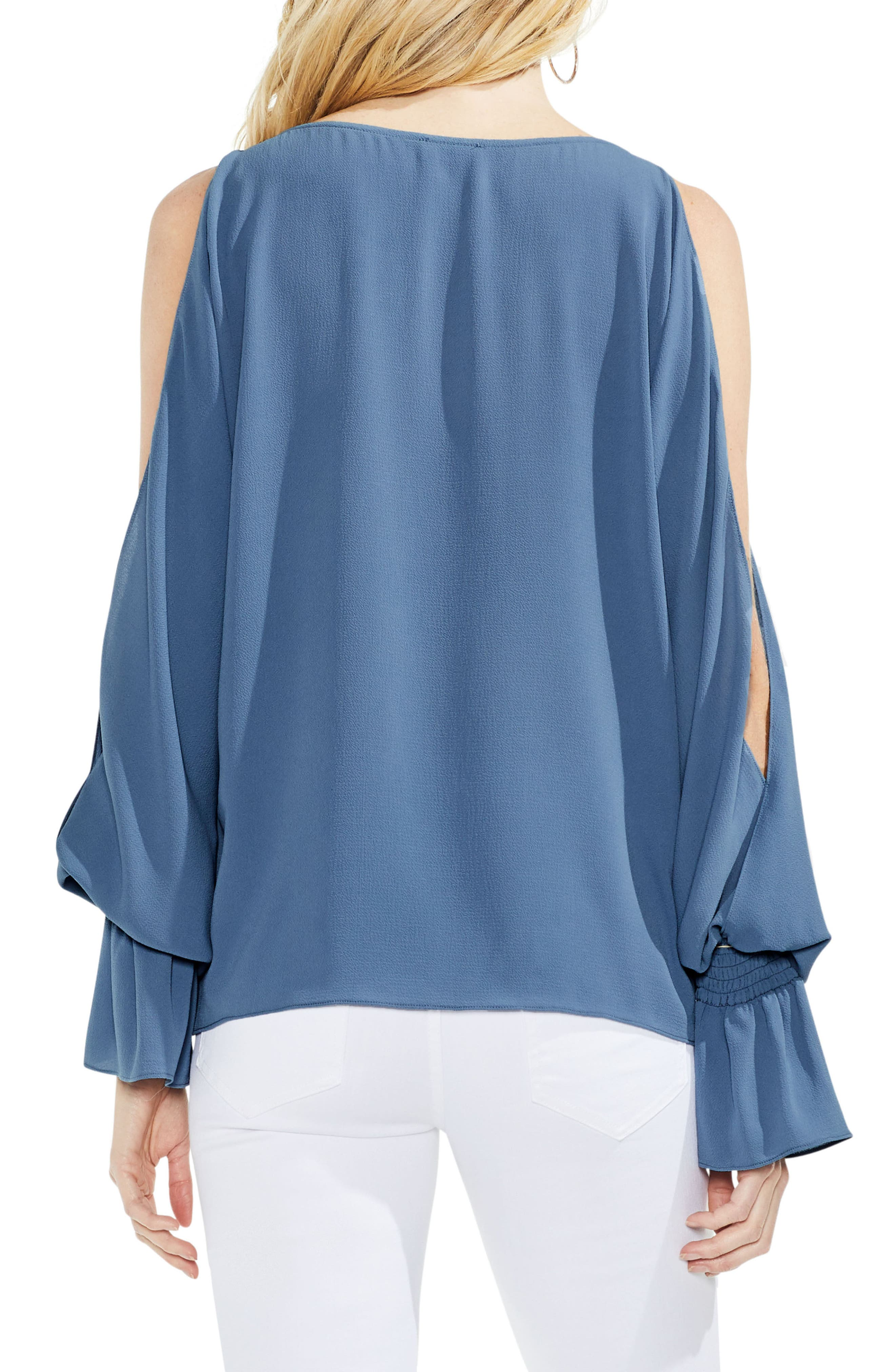 Cold Shoulder Flare Cuff Top,                             Alternate thumbnail 9, color,