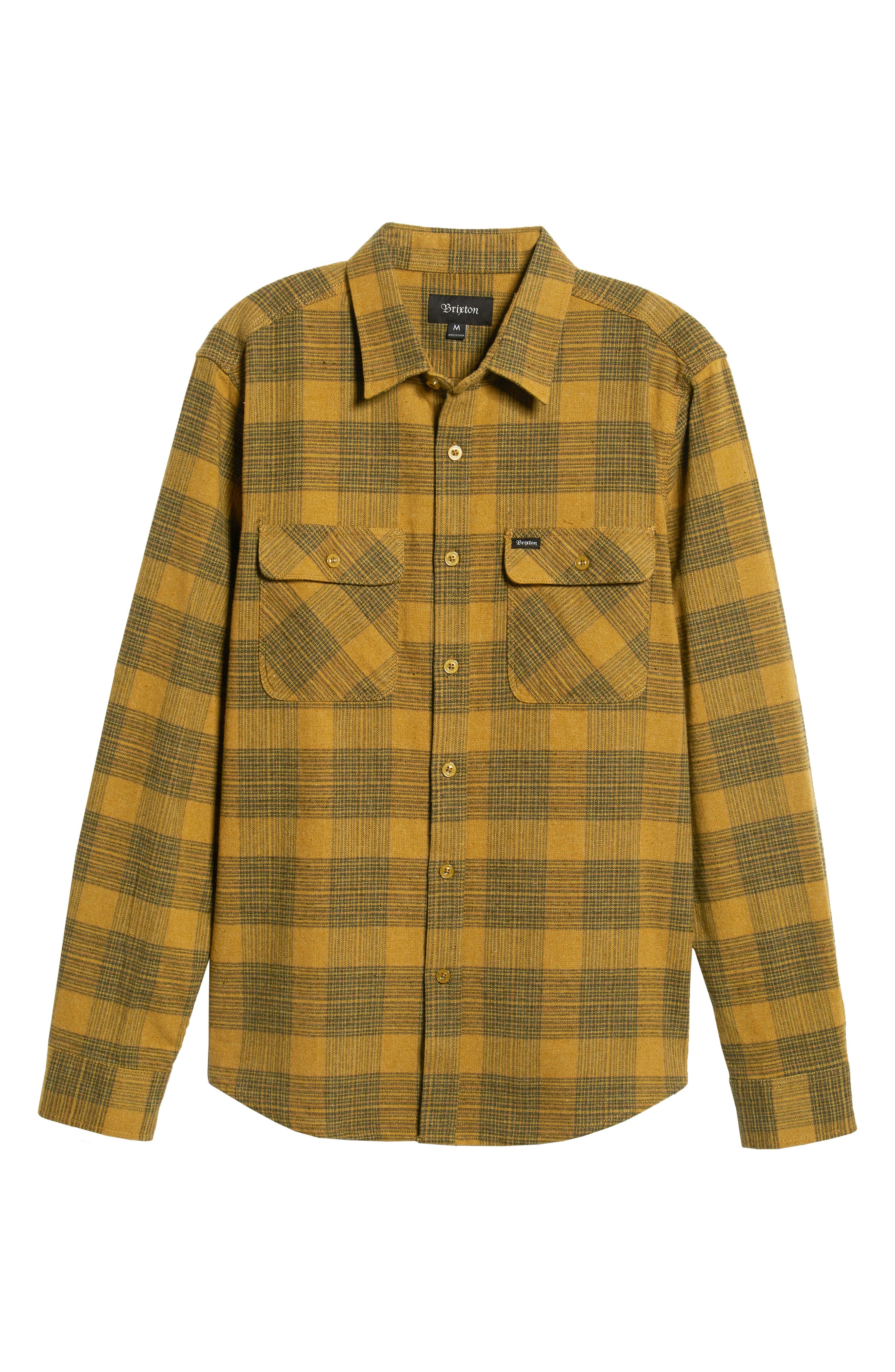 Bowery Flannel Shirt,                             Alternate thumbnail 5, color,                             AVOCADO