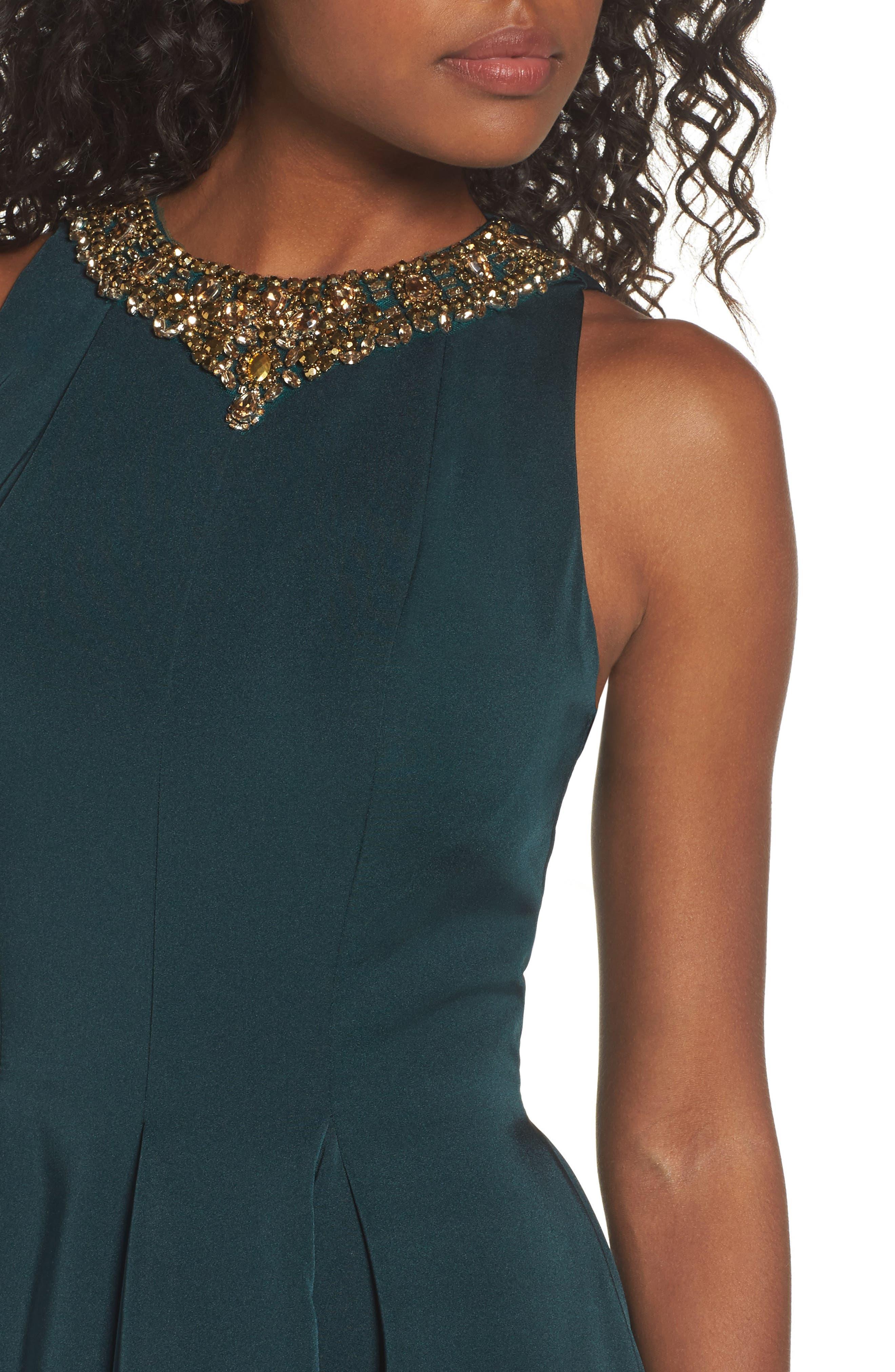Embellished Fit & Flare Dress,                             Alternate thumbnail 4, color,                             EMERALD