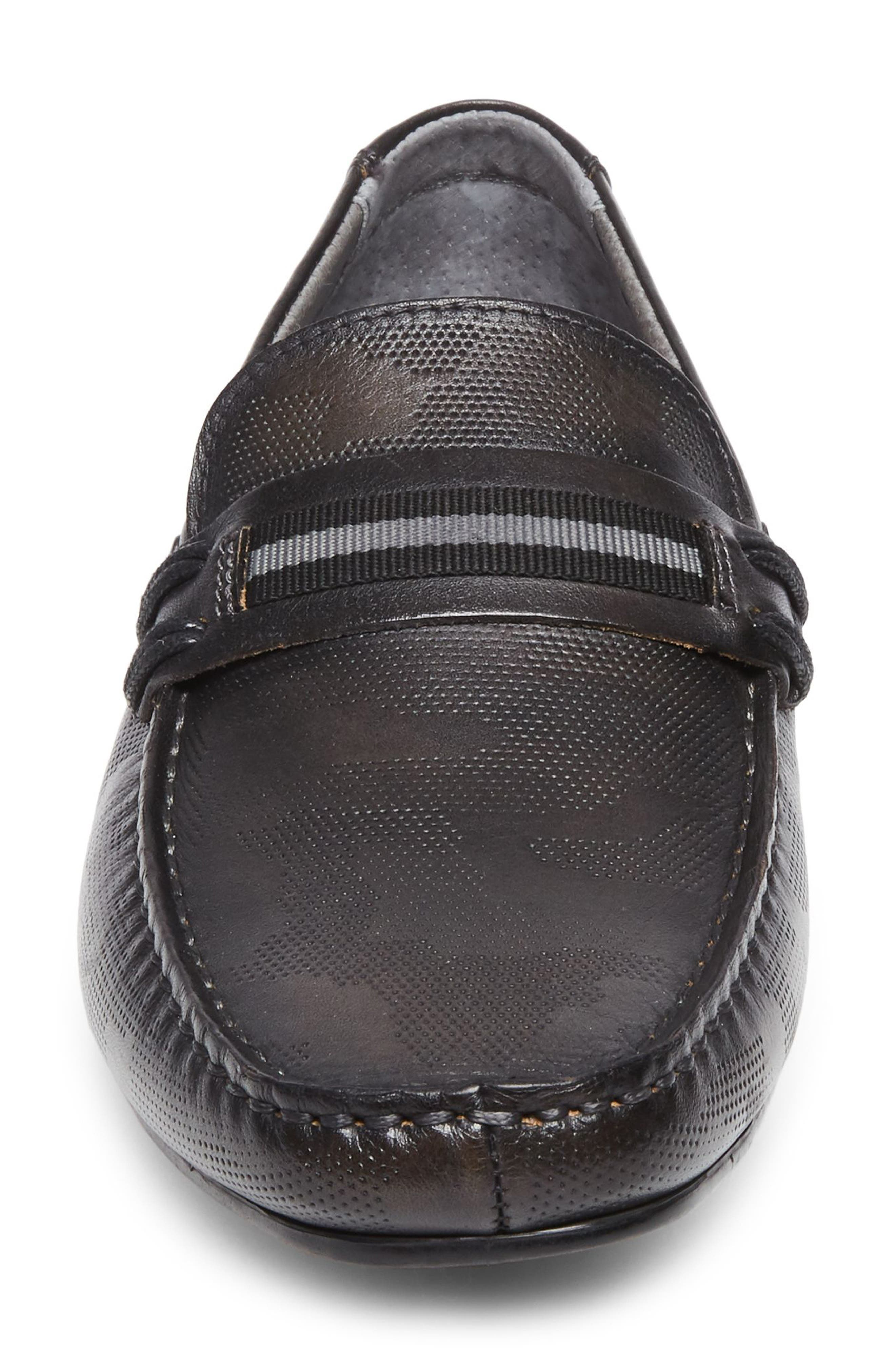 Garvet Textured Driving Loafer,                             Alternate thumbnail 4, color,                             001