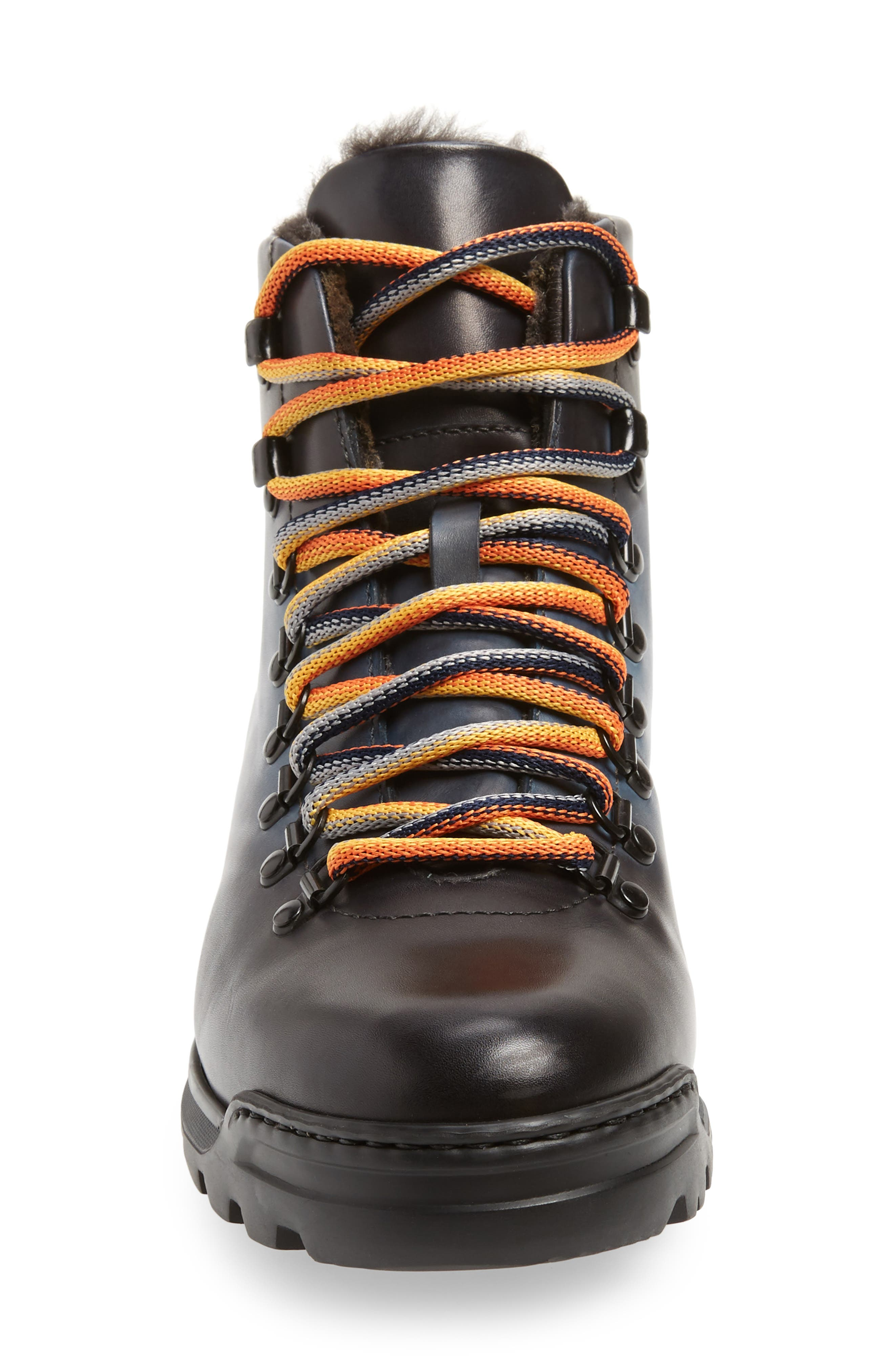 Oberon Genuine Shearling Lace-Up Hiking Boot,                             Alternate thumbnail 4, color,                             NAVY LEATHER