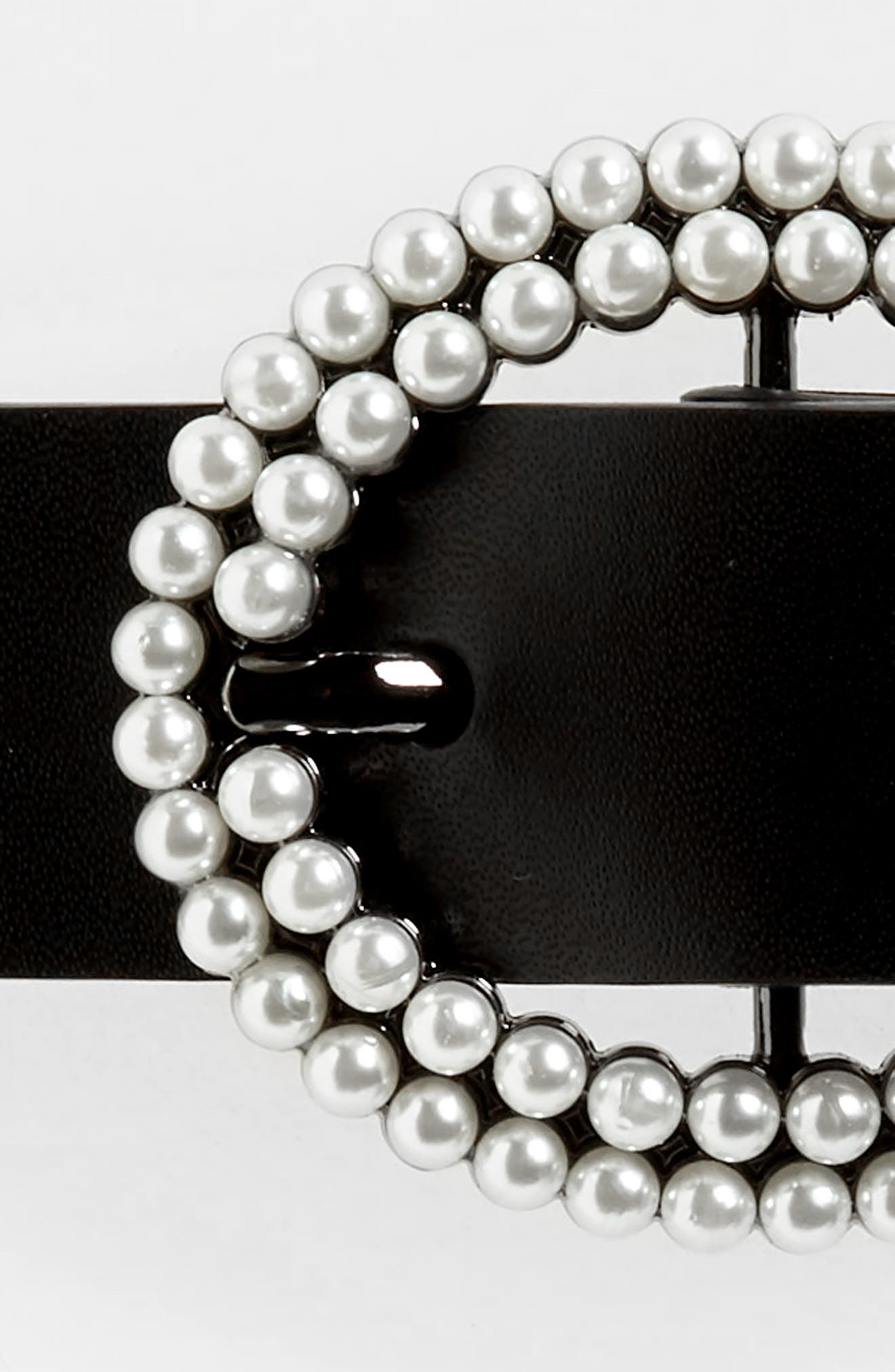 Imitation Pearl Buckle Leather Belt,                             Alternate thumbnail 3, color,                             BLACK