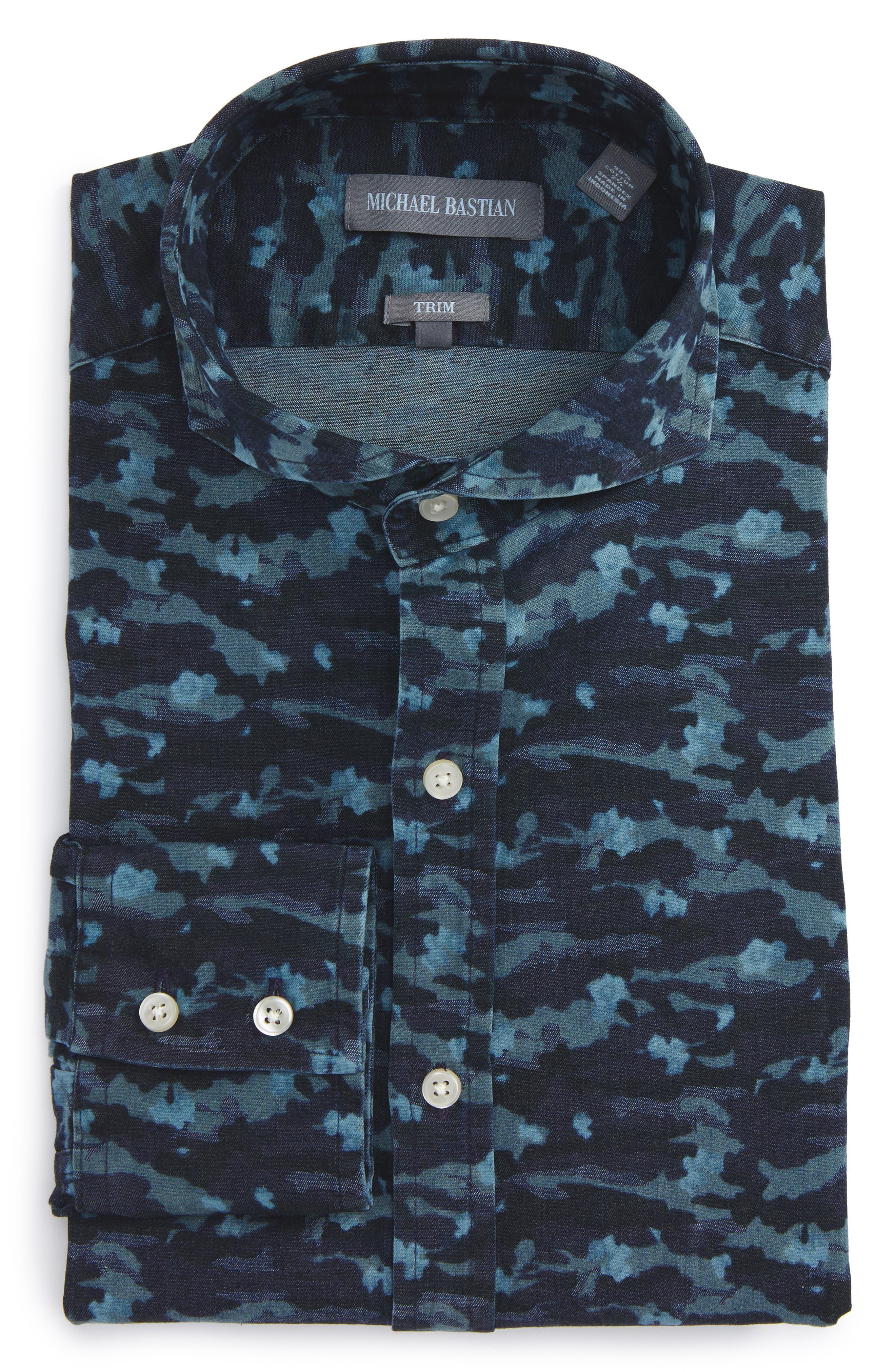 Trim Fit Camo Print Dress Shirt,                         Main,                         color, 429