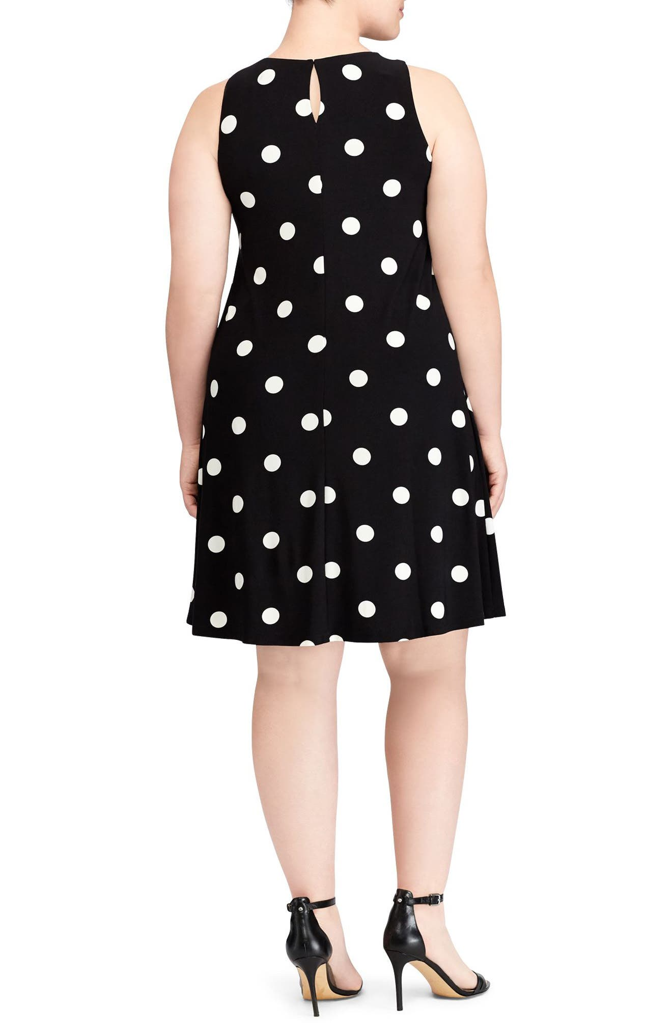 Suzan Peninsula Dot Shift Dress,                             Alternate thumbnail 2, color,                             001