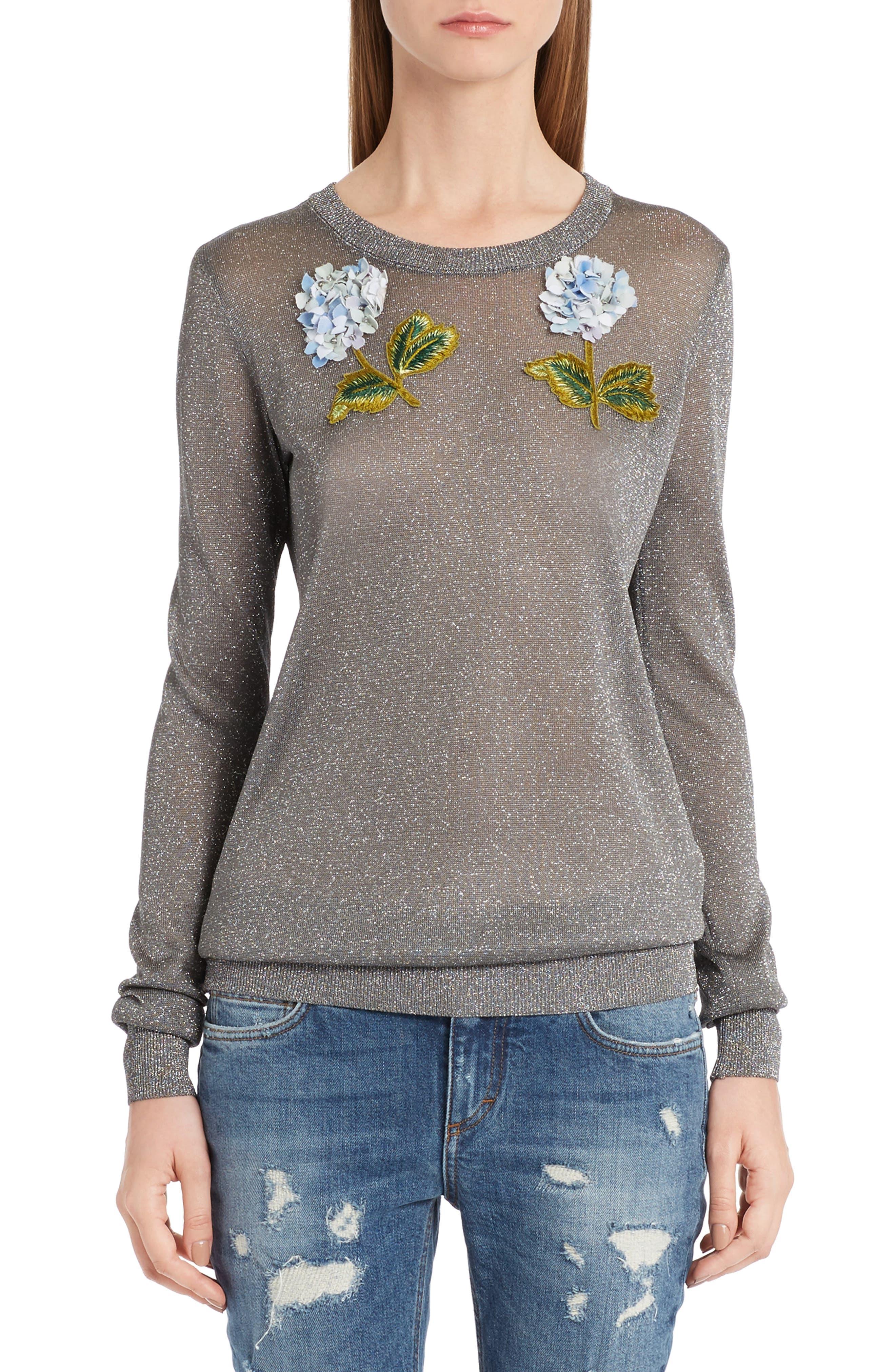 Embellished Metallic Sweater,                             Main thumbnail 1, color,