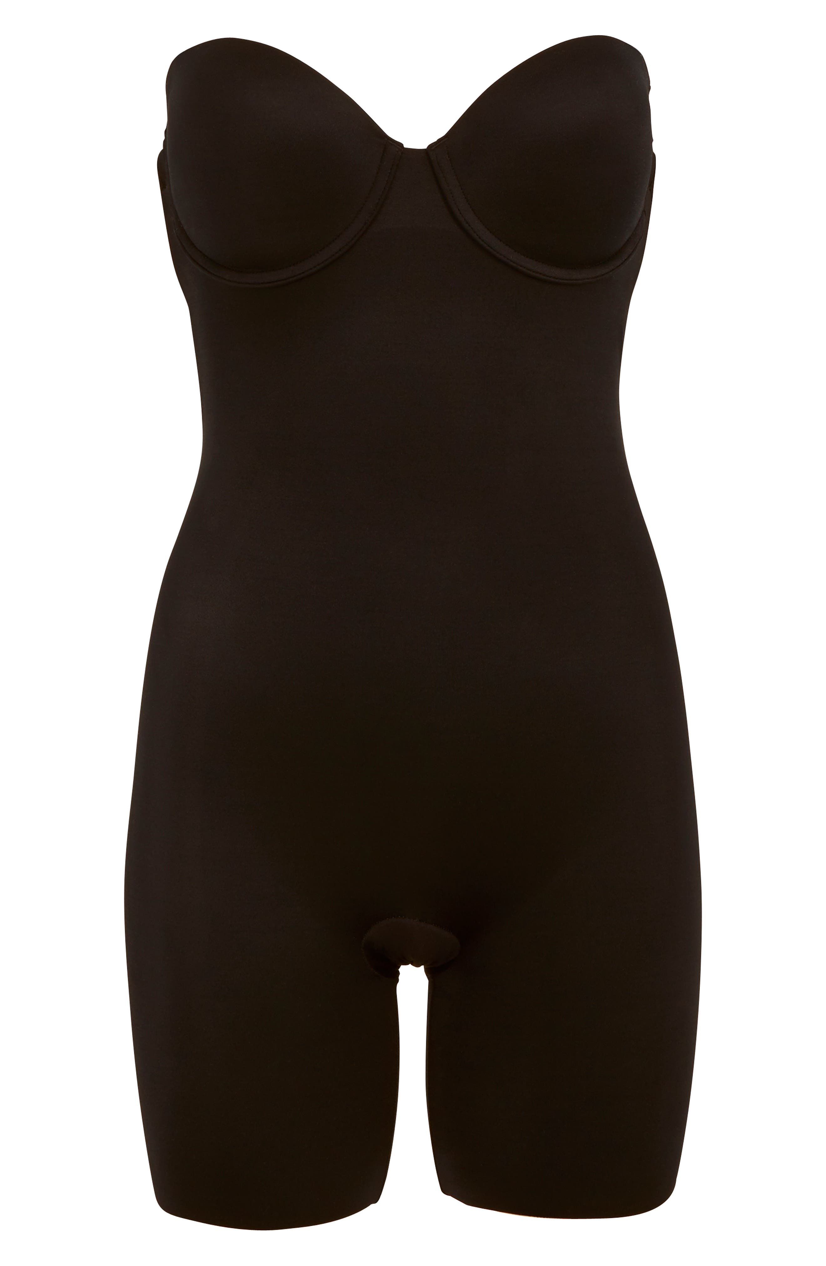 Suit Your Fancy Strapless Cupped Mid-Thigh Shaper Bodysuit,                             Alternate thumbnail 5, color,                             VERY BLACK