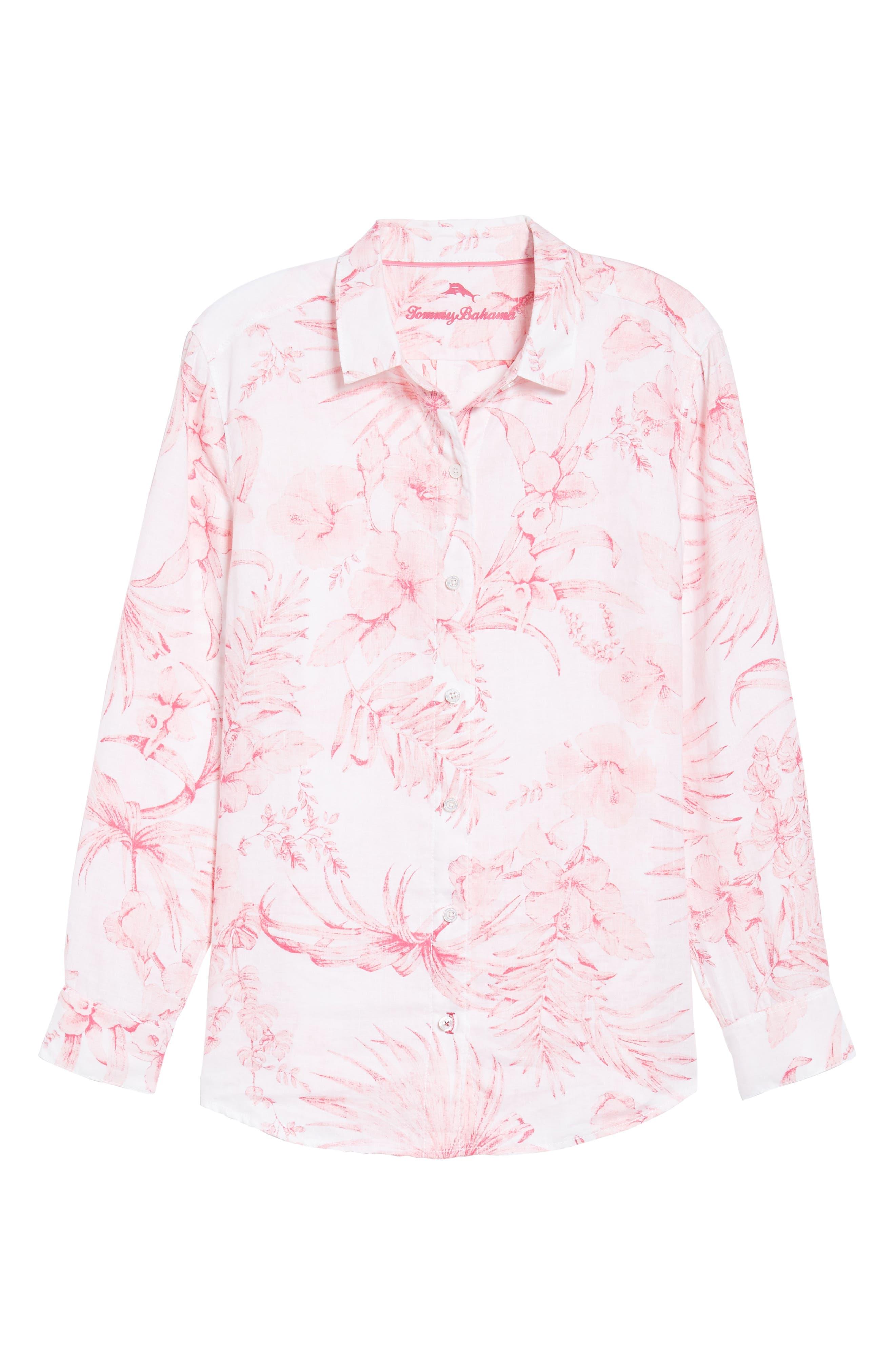 Tulum Tropical Linen Shirt,                             Alternate thumbnail 6, color,                             PINK LACE