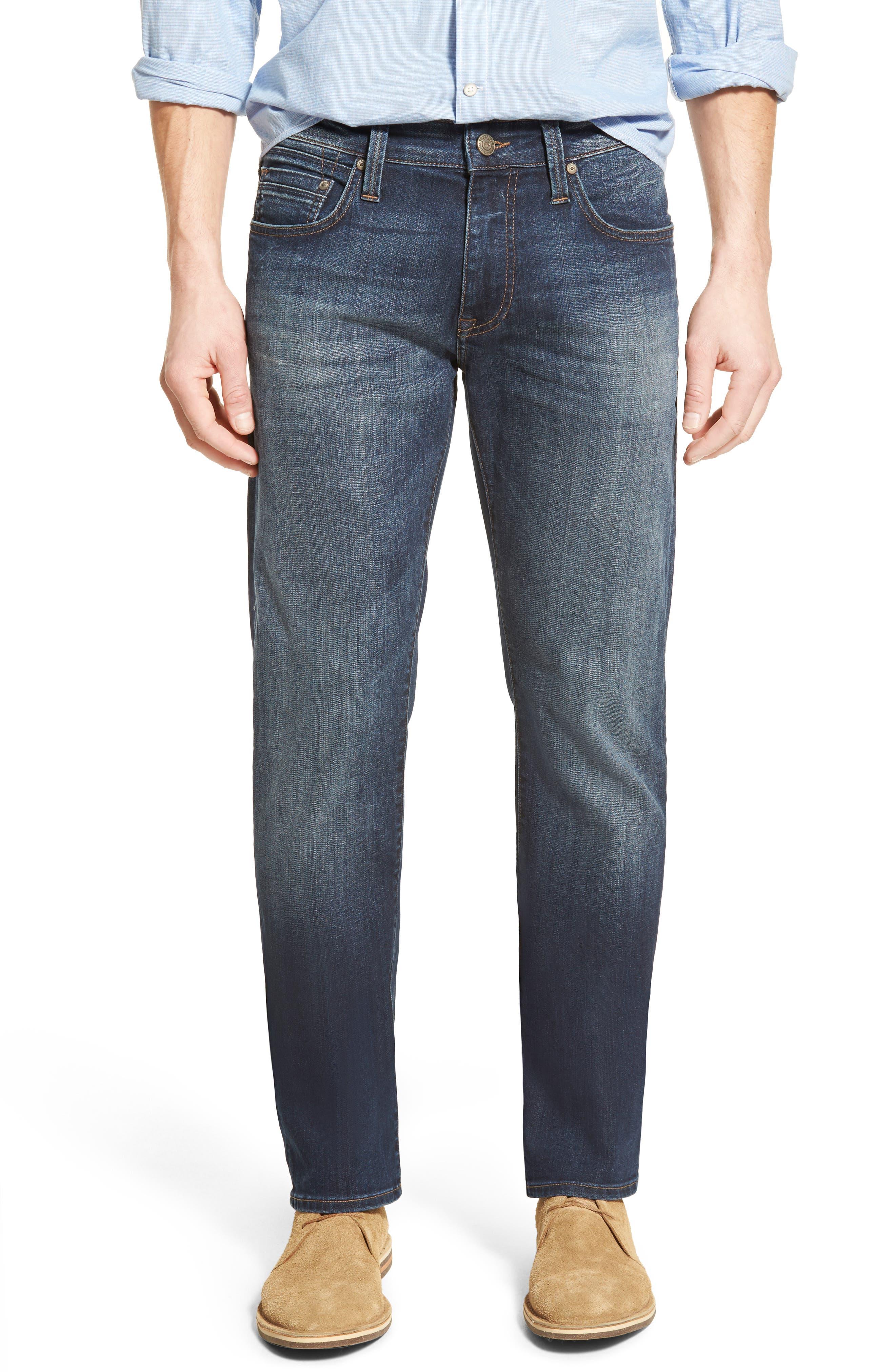 MAVI JEANS Zach Straight Leg Jeans, Main, color, DARK BRUSHED WILLIAMSBURG