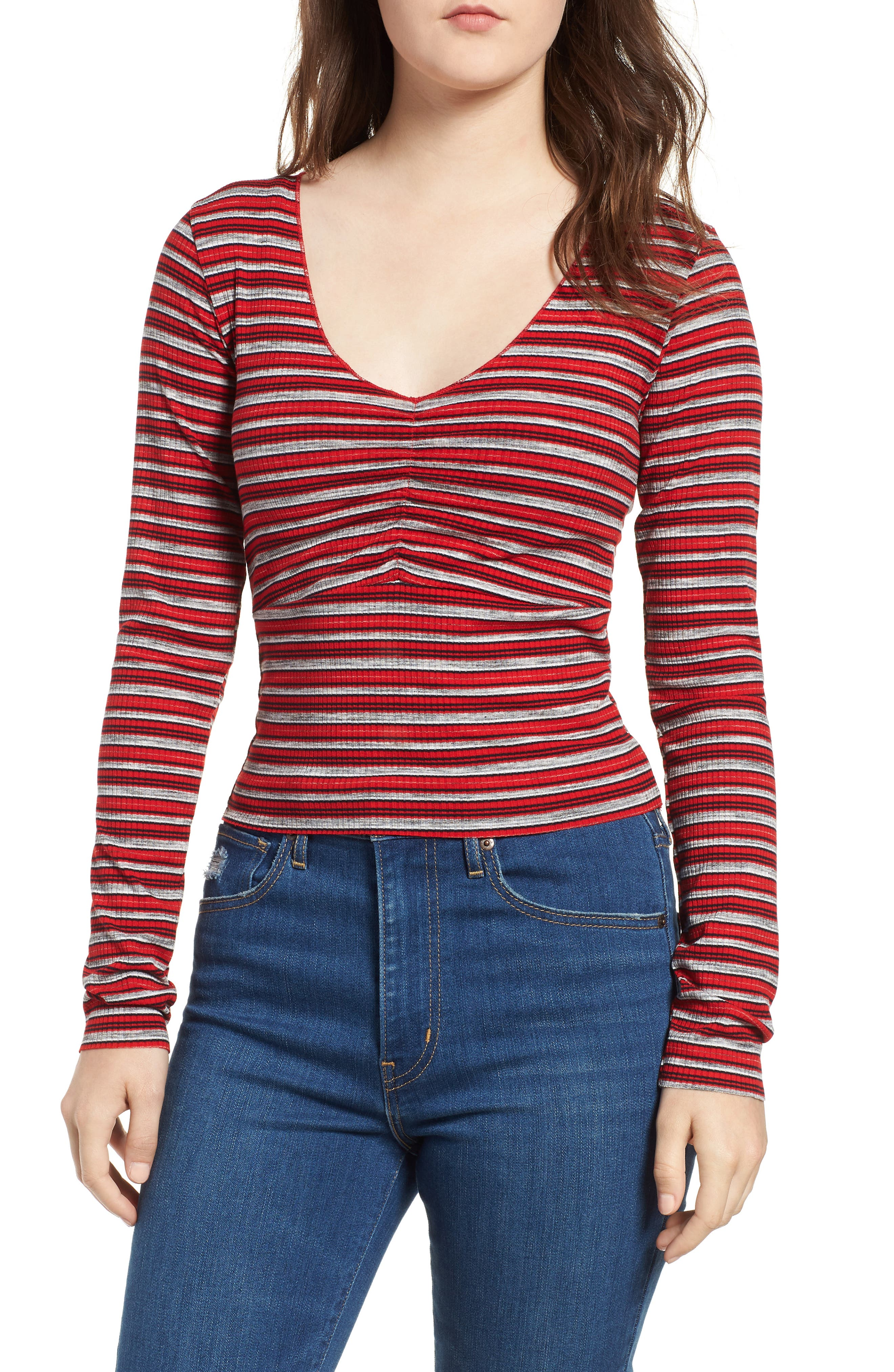 Multi Stripe Cinch Front Top,                         Main,                         color, RED/ NAVY