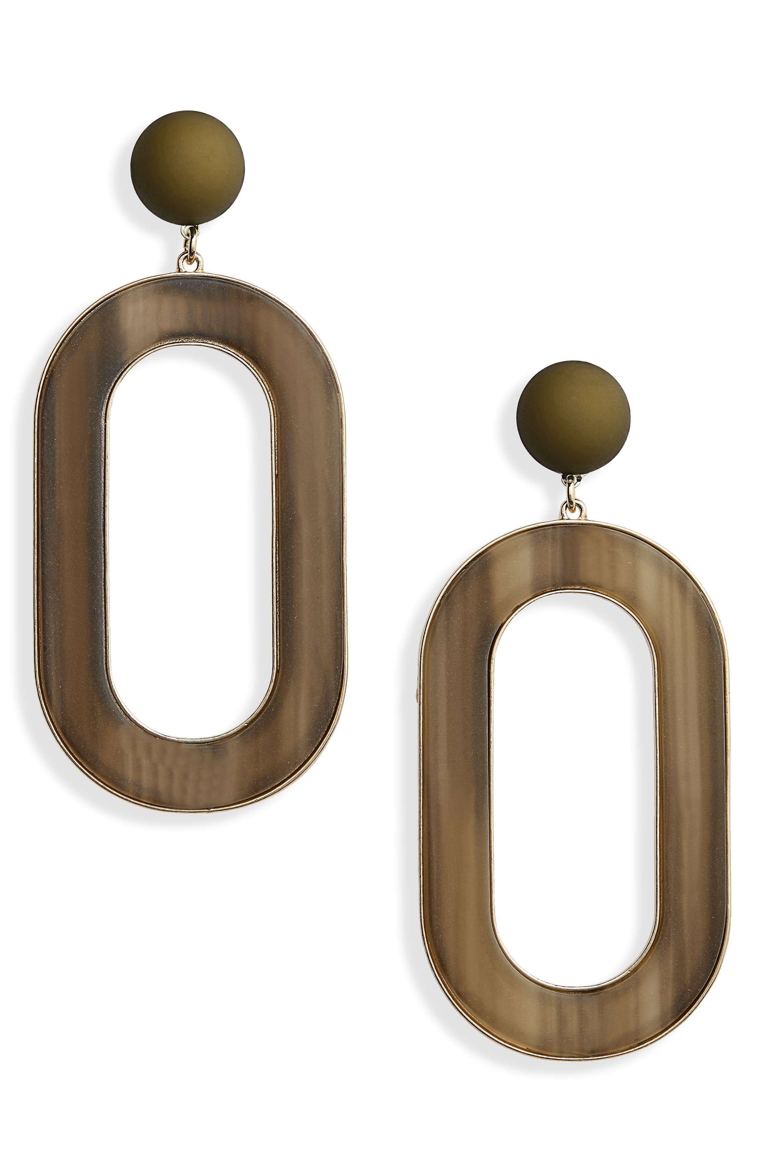 Resin & Metal Statement Earrings, Main, color, 300