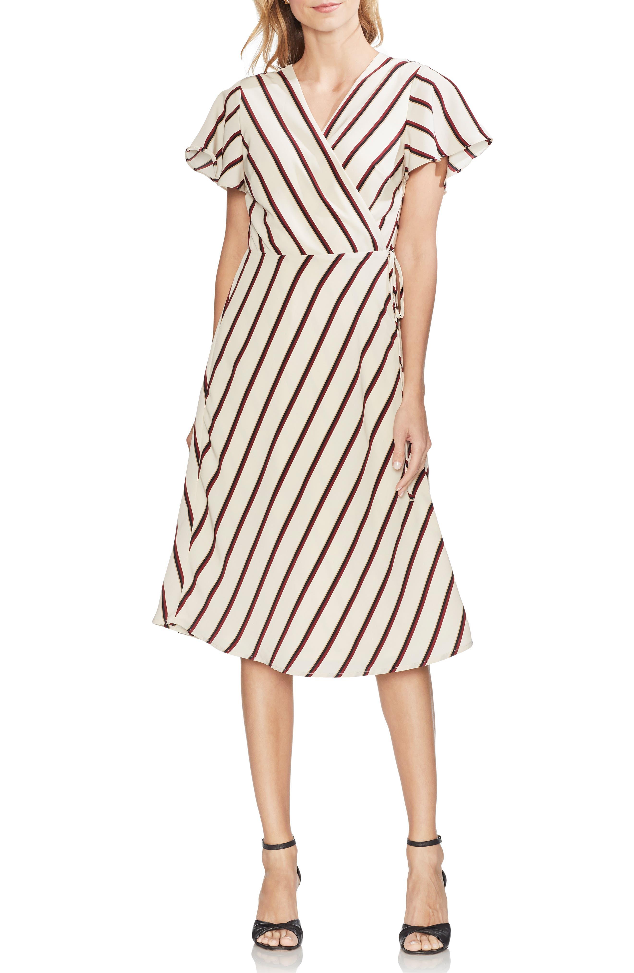 Vince Camuto Caravan Stripe Wrap Dress, Beige