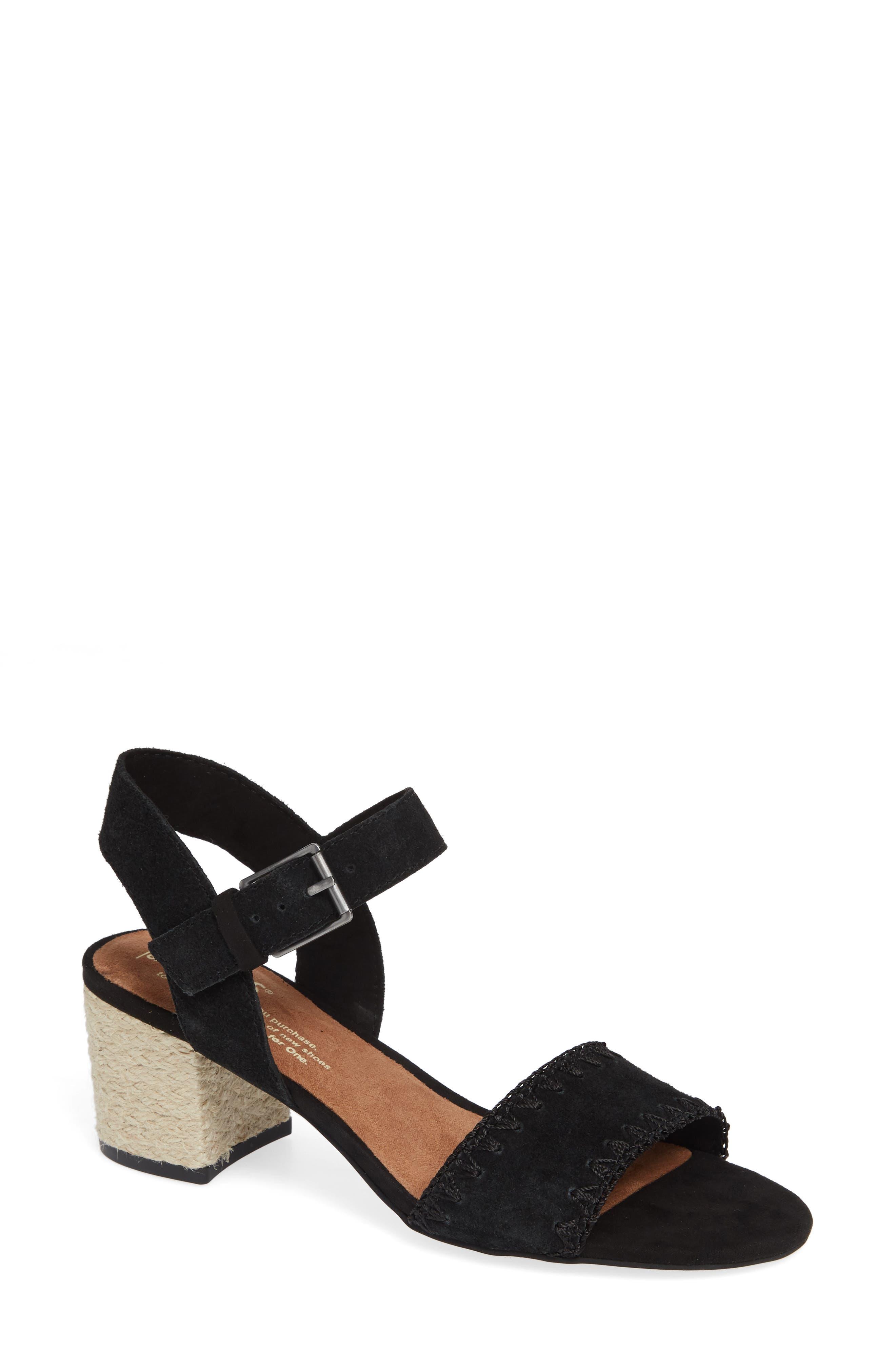 Rosa Sandal,                         Main,                         color, BLACK SUEDE