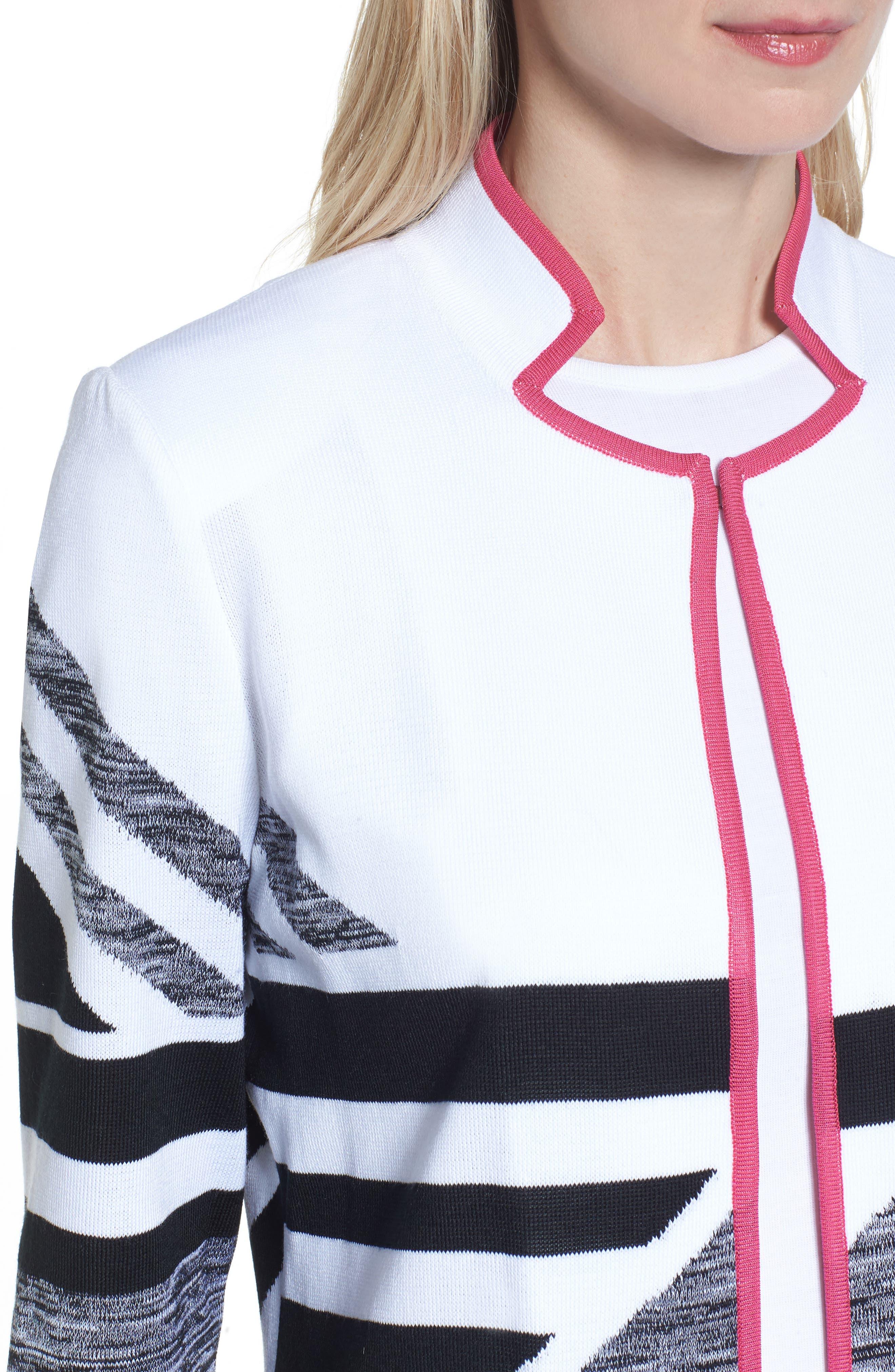 Geometric Knit Jacket,                             Alternate thumbnail 4, color,