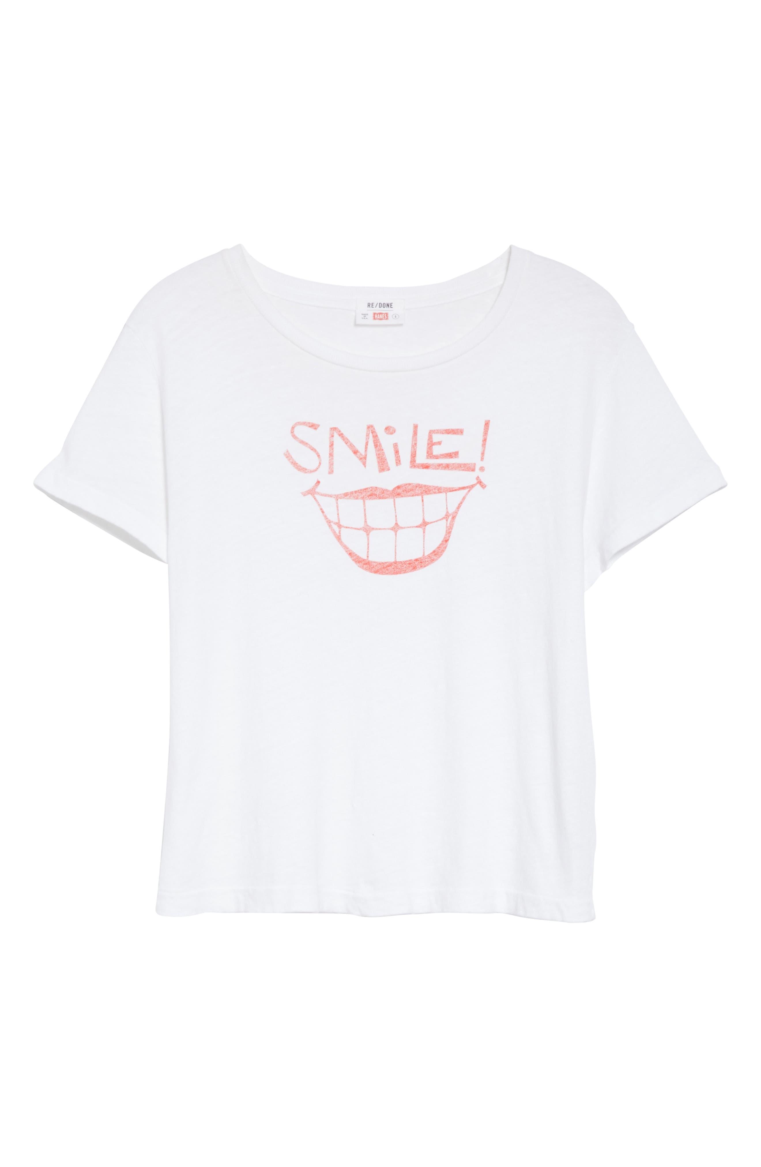 Smile Graphic Tee,                             Alternate thumbnail 6, color,                             OPTIC WHITE
