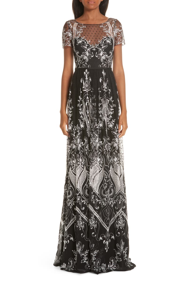 Marchesa Notte EMBROIDERED SWISS DOT TULLE GOWN