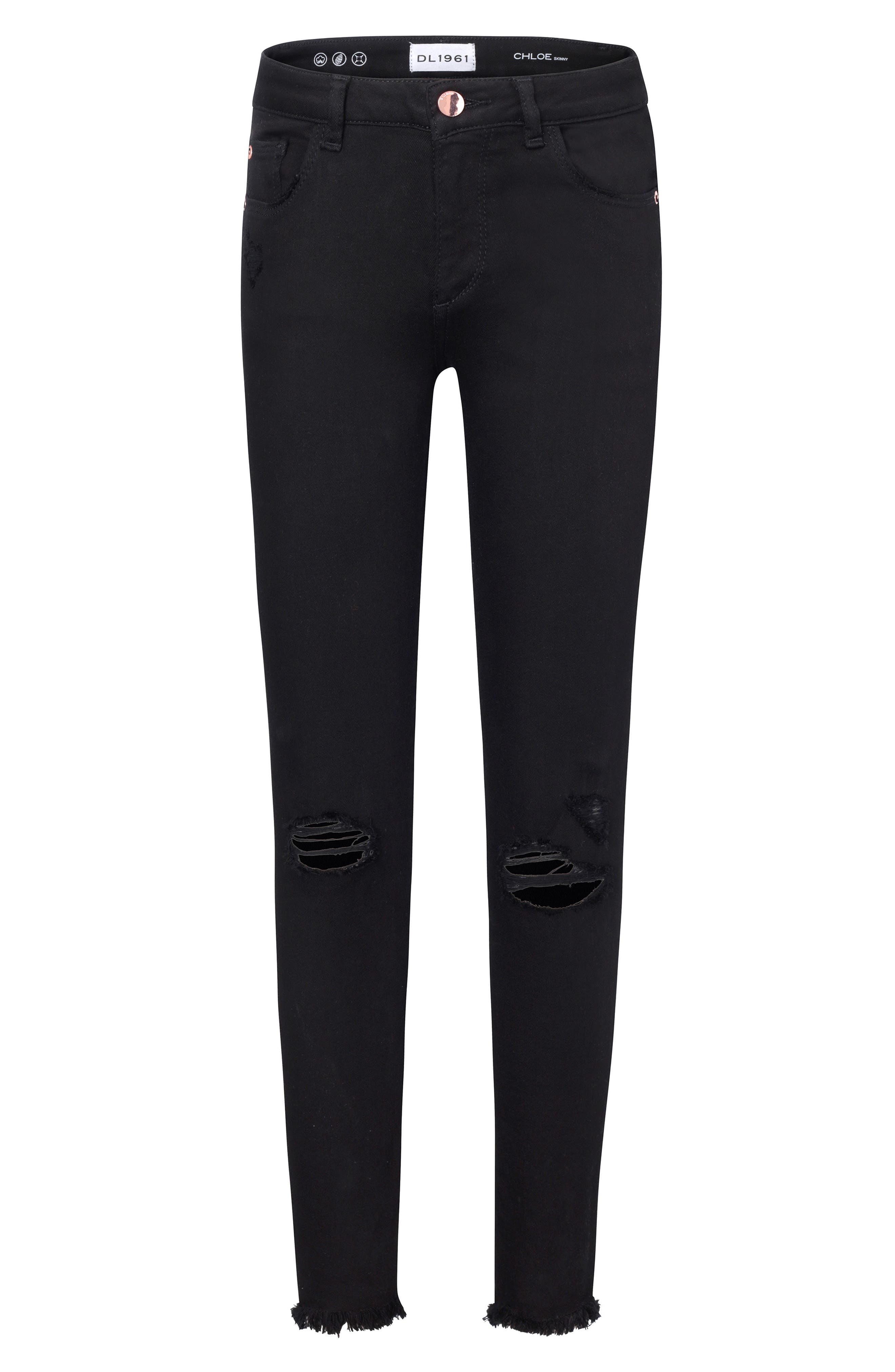 Distressed Skinny Jeans,                             Main thumbnail 1, color,                             BLACKOUT