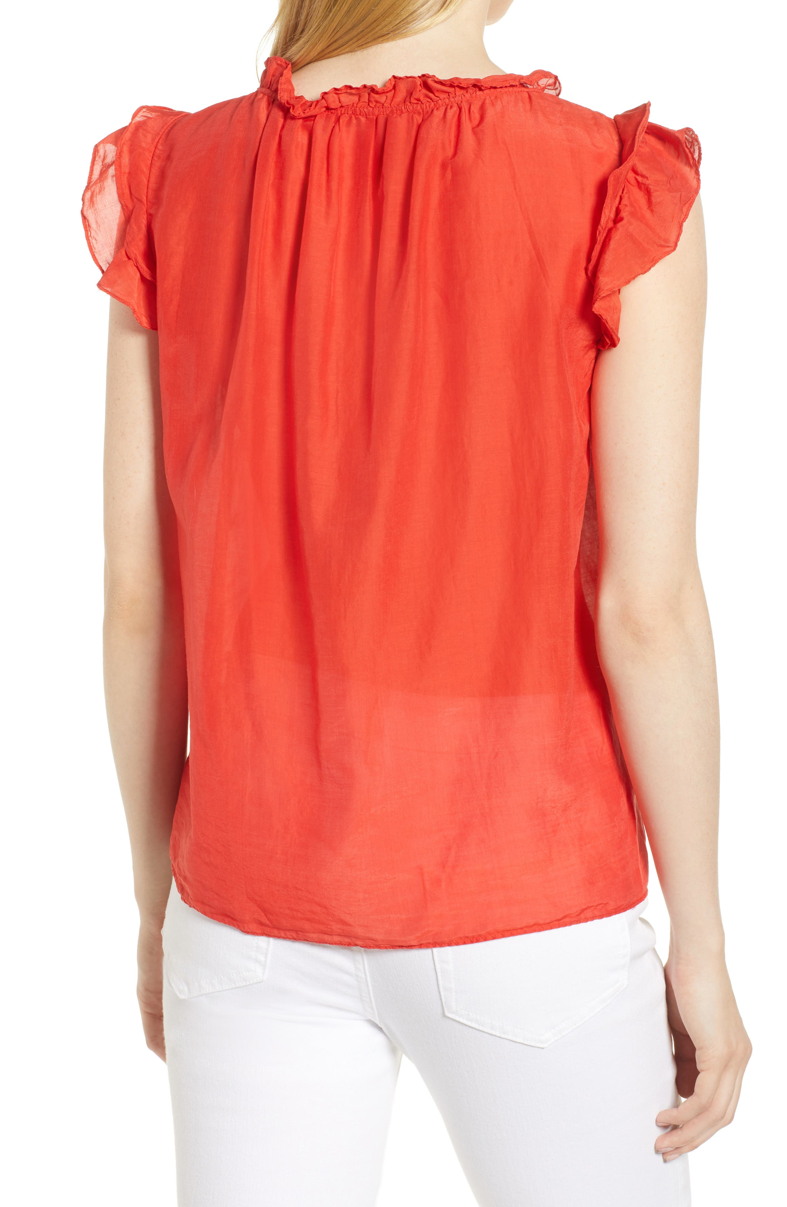 Silk and Cotton Ruffled Top,                             Alternate thumbnail 2, color,                             634