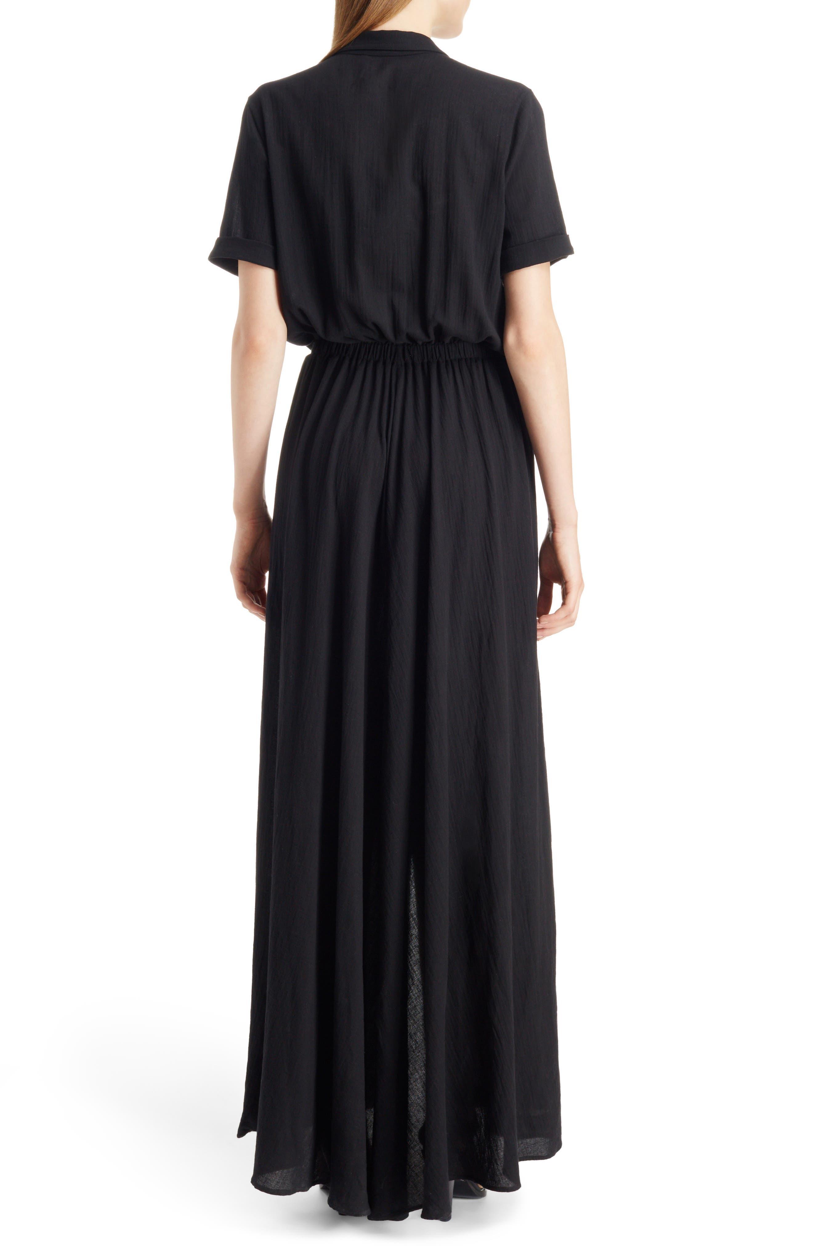Button Front Cotton Maxi Dress,                             Alternate thumbnail 2, color,                             001