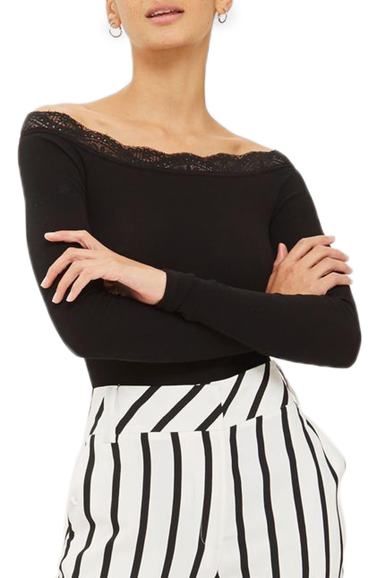 Lace Trim Off the Shoulder Bodysuit,                             Main thumbnail 1, color,
