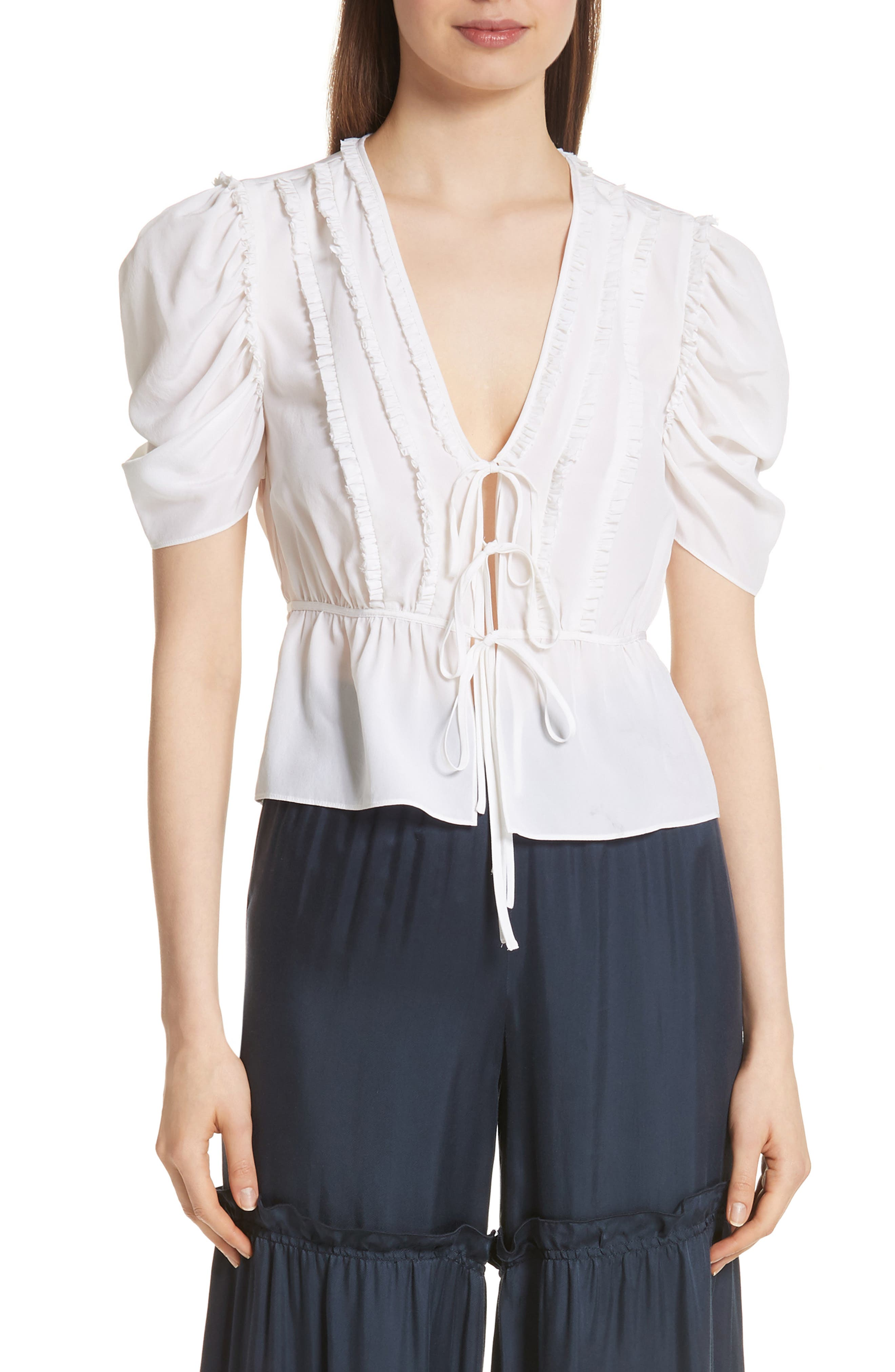 Keira Tie Front Silk Top,                         Main,                         color, BRIGHT LIGHT
