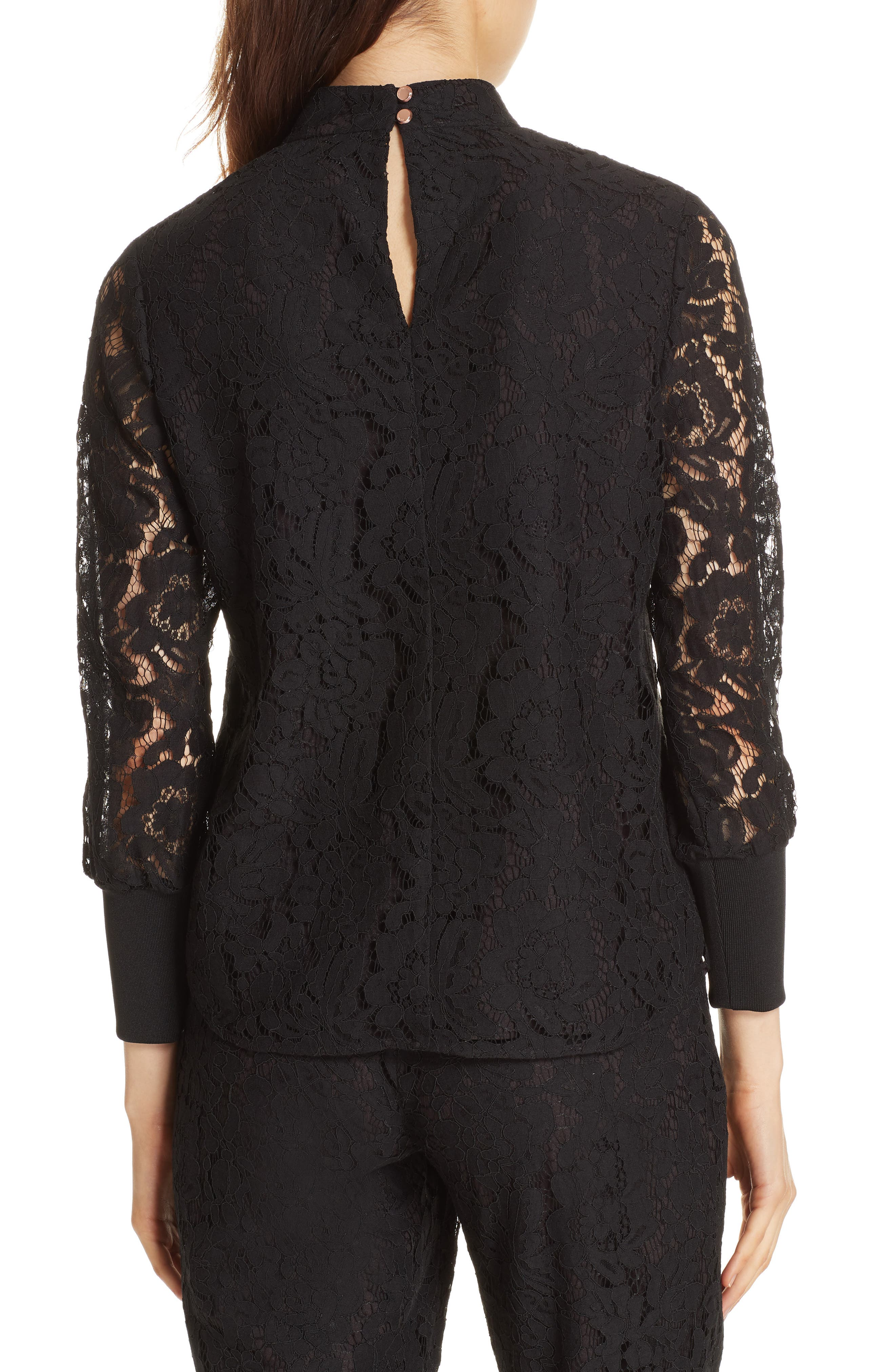 Dilly Lace High Neck Blouse,                             Alternate thumbnail 2, color,                             BLACK