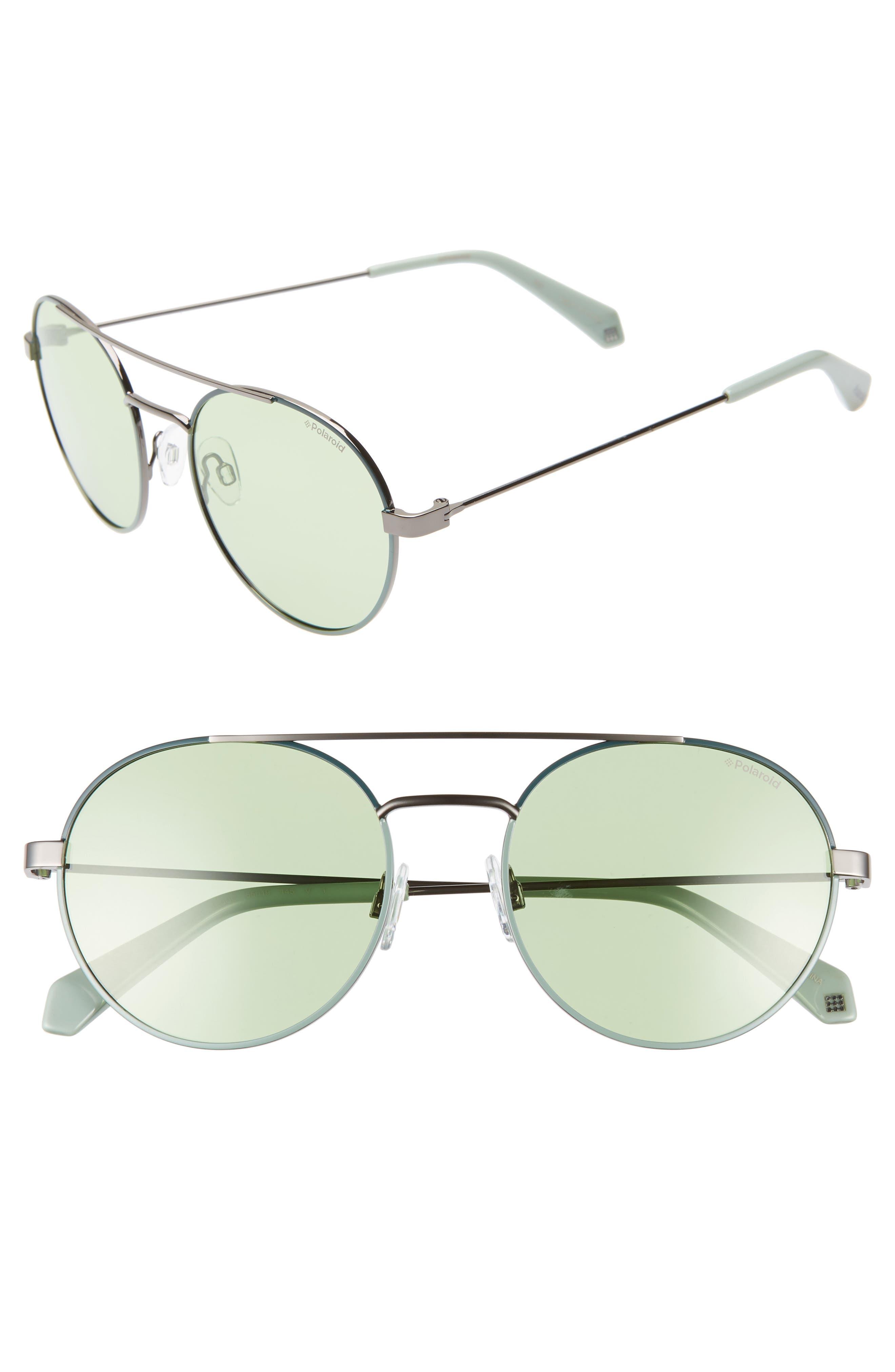 Polaroid 55Mm Polarized Round Aviator Sunglasses - Green/ Silver
