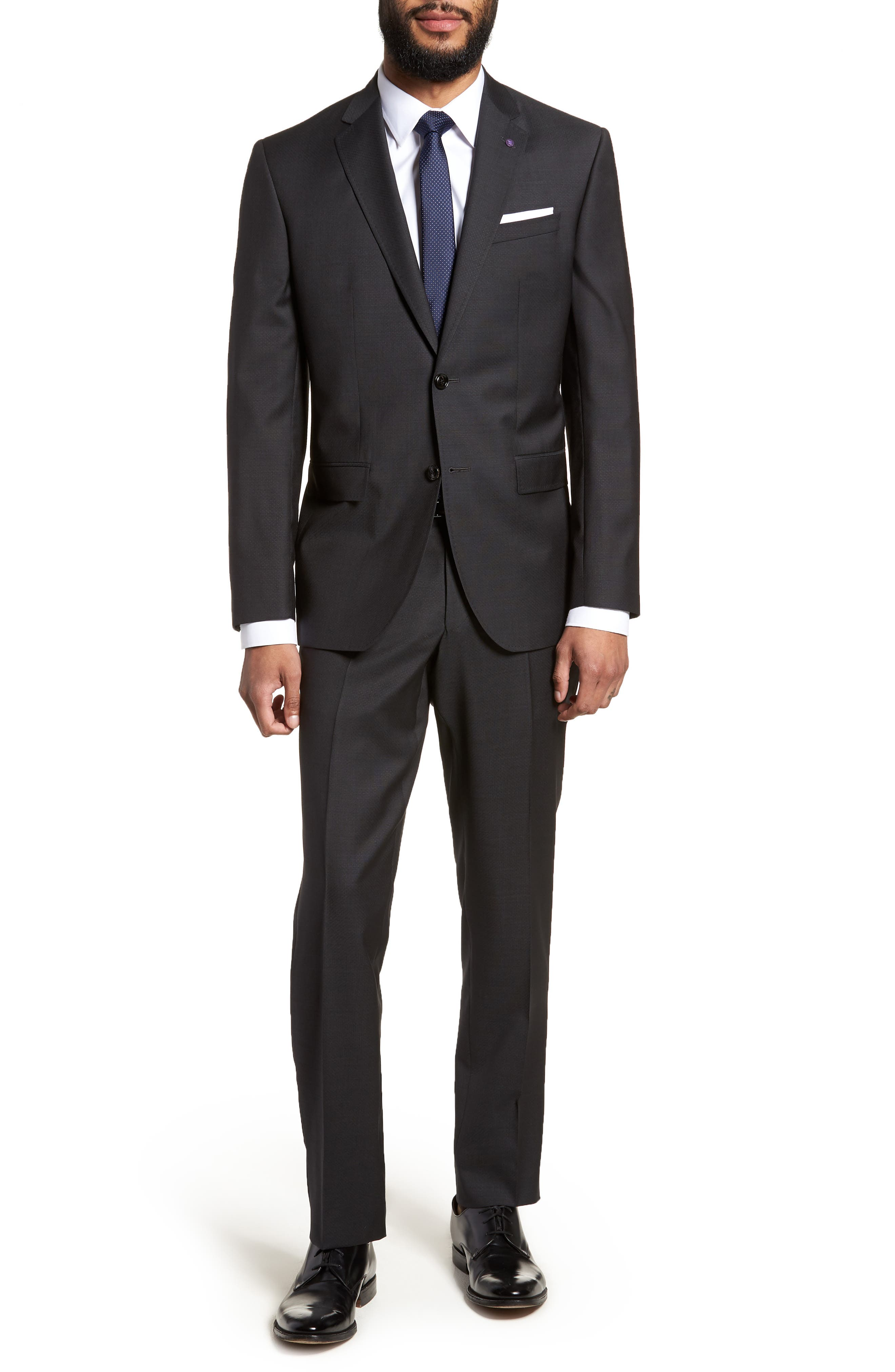 Jay Trim Fit Solid Wool Suit,                             Main thumbnail 1, color,                             001