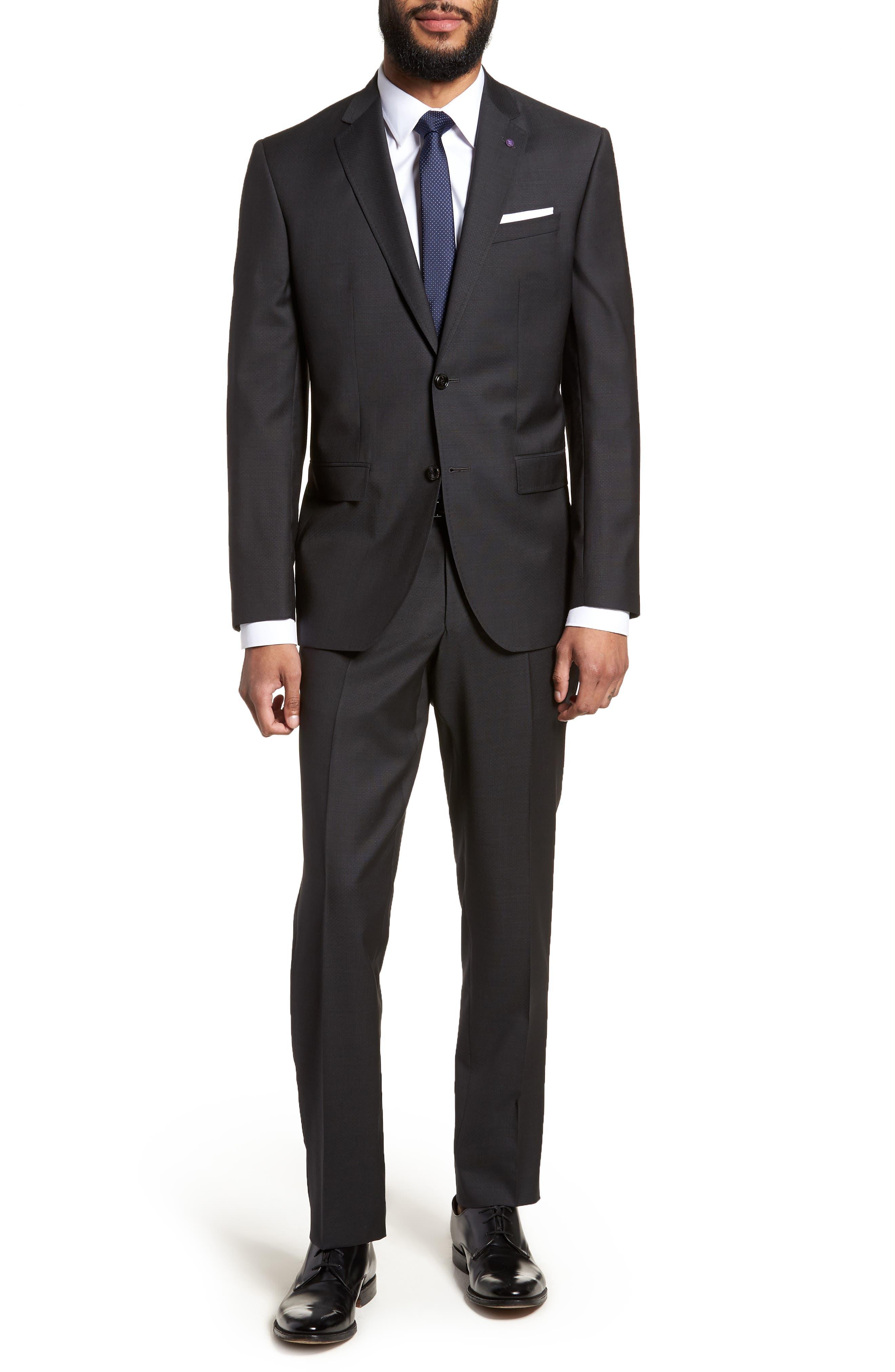Jay Trim Fit Solid Wool Suit,                         Main,                         color, BLACK