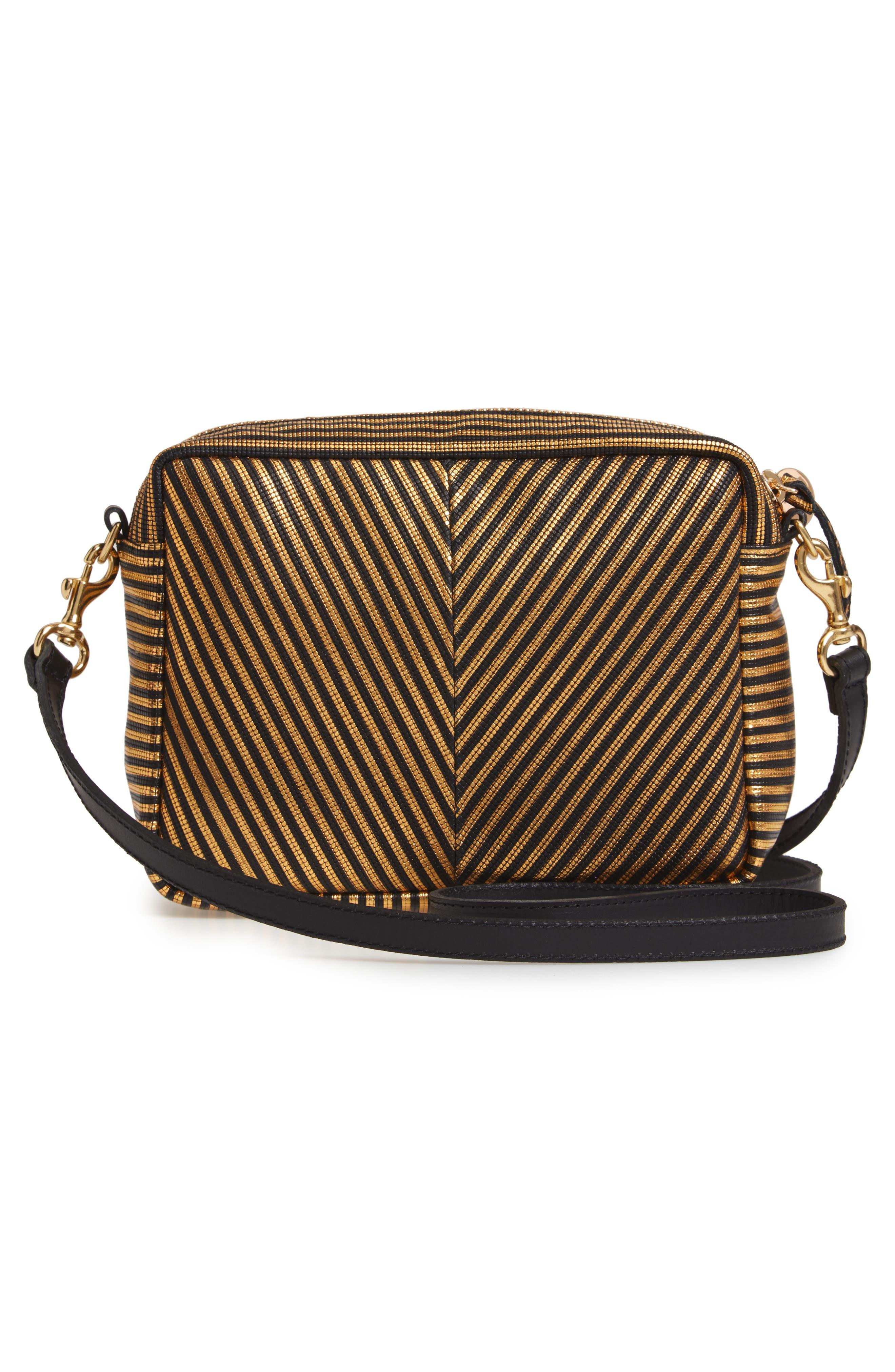 Midi Sac Disco Stripe Leather Crossbody Bag,                             Alternate thumbnail 3, color,                             DISCO STRIPE