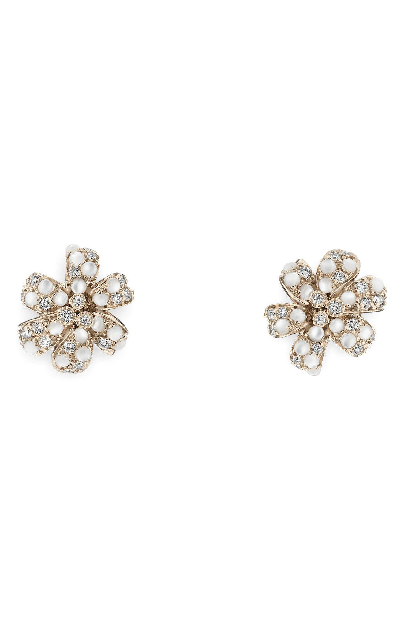 Flora Diamond & Mother of Pearl Stud Earrings,                             Main thumbnail 1, color,                             WHITE GOLD