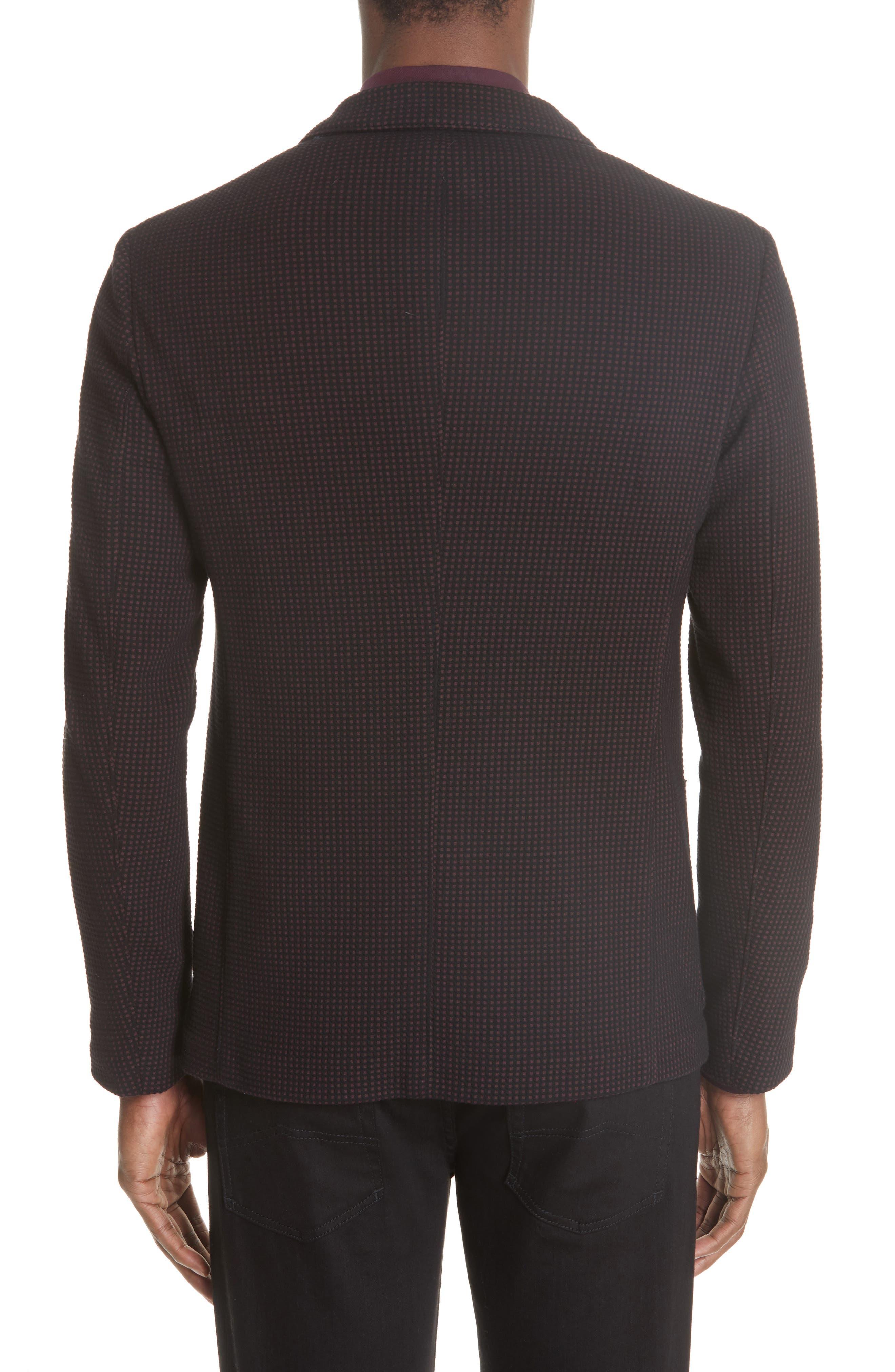 Trim Fit Check Cotton Sport Coat,                             Alternate thumbnail 2, color,                             BURGUNDY