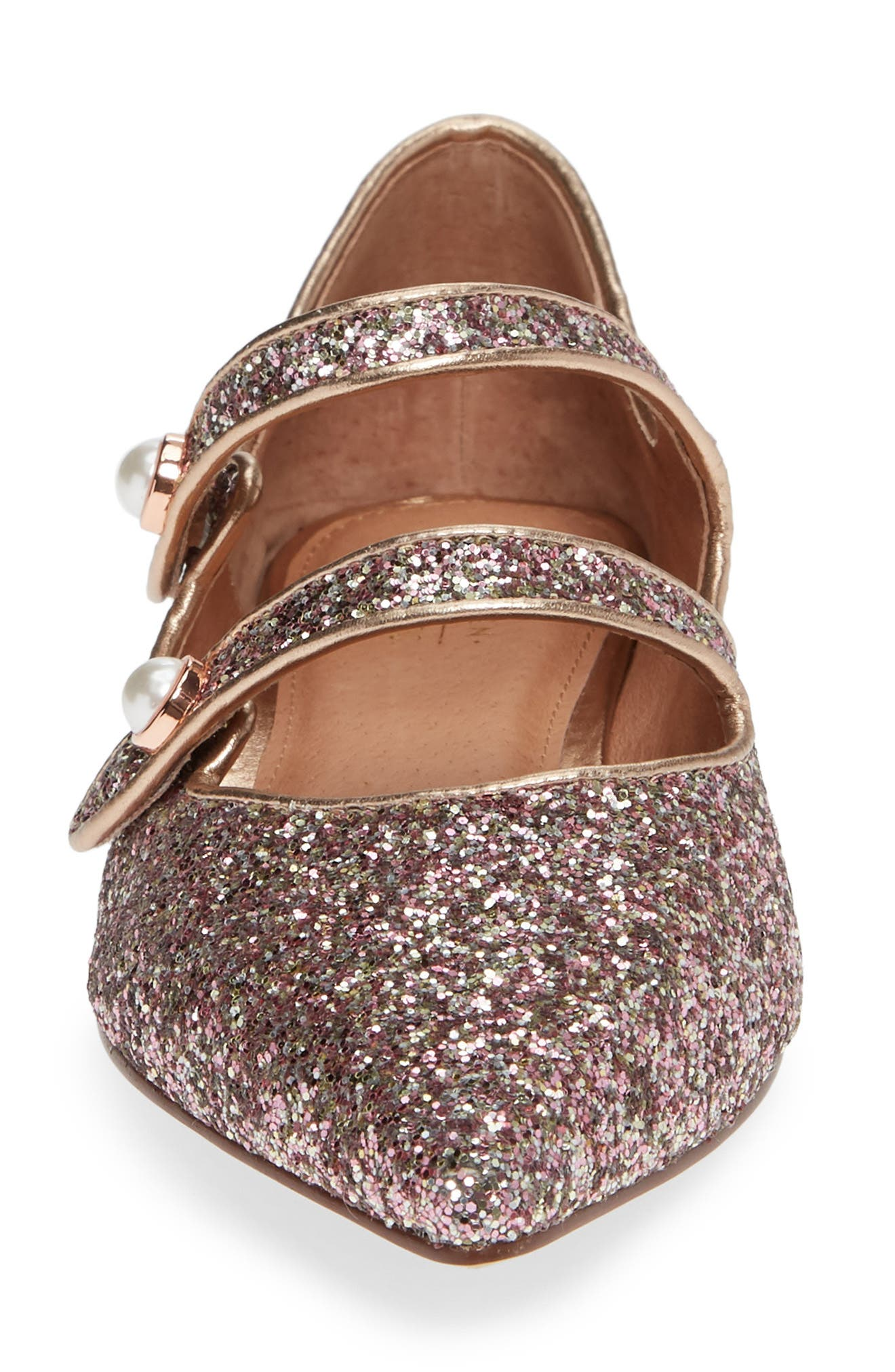 x Atlantic-Pacific Anastasia Double Strap Flat,                             Alternate thumbnail 6, color,                             ROSE GLITTER