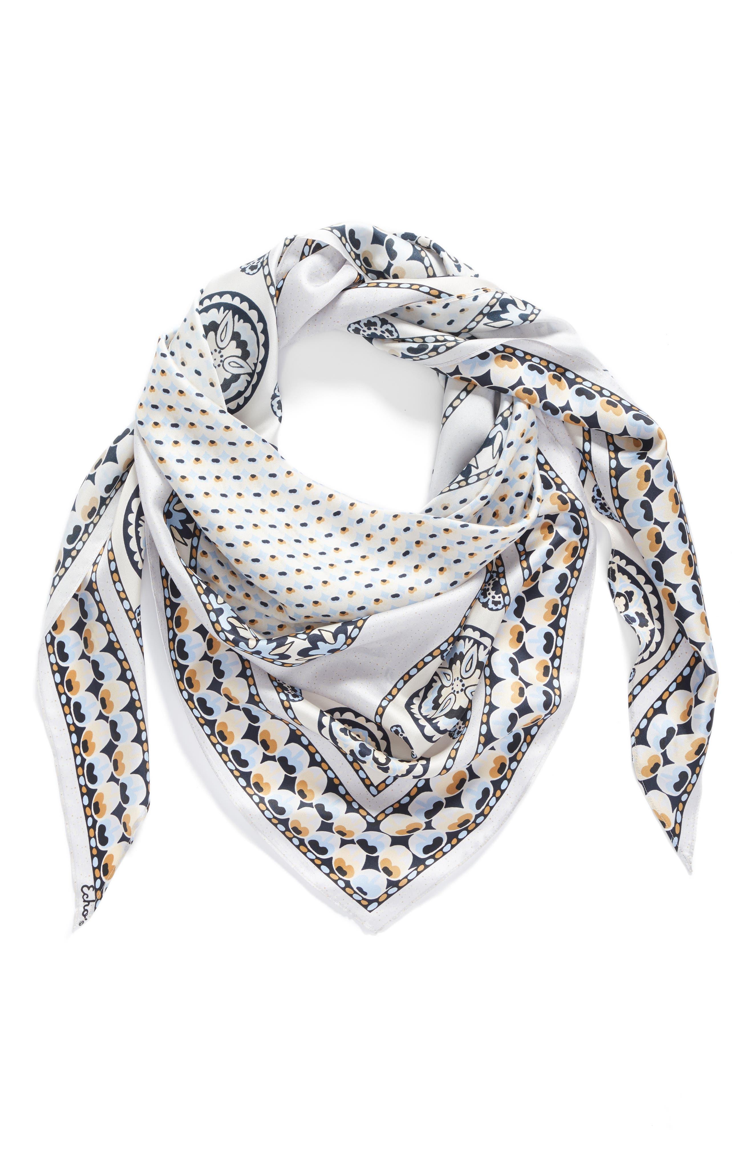 Medallion Triangle Silk Scarf,                         Main,                         color, 020
