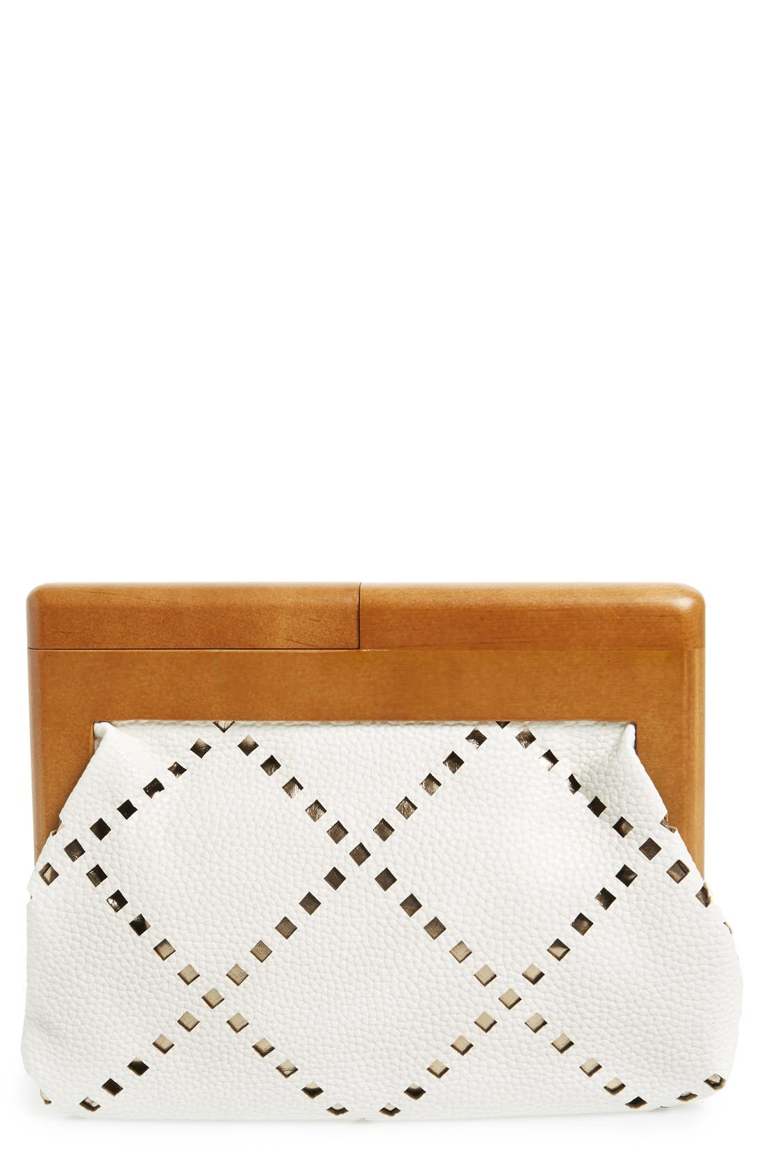Perforated Faux Leather Frame Clutch,                             Main thumbnail 1, color,                             100