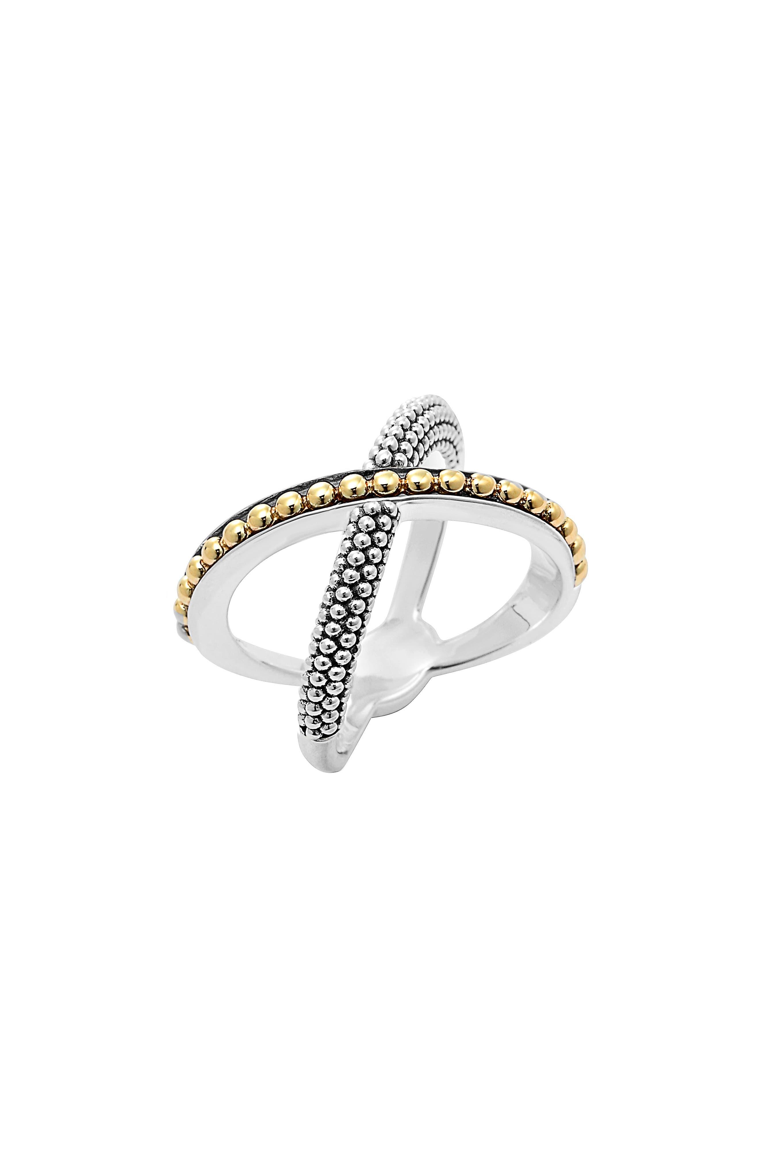 'Enso' Caviar Crossover Ring,                             Main thumbnail 1, color,                             SILVER/ GOLD