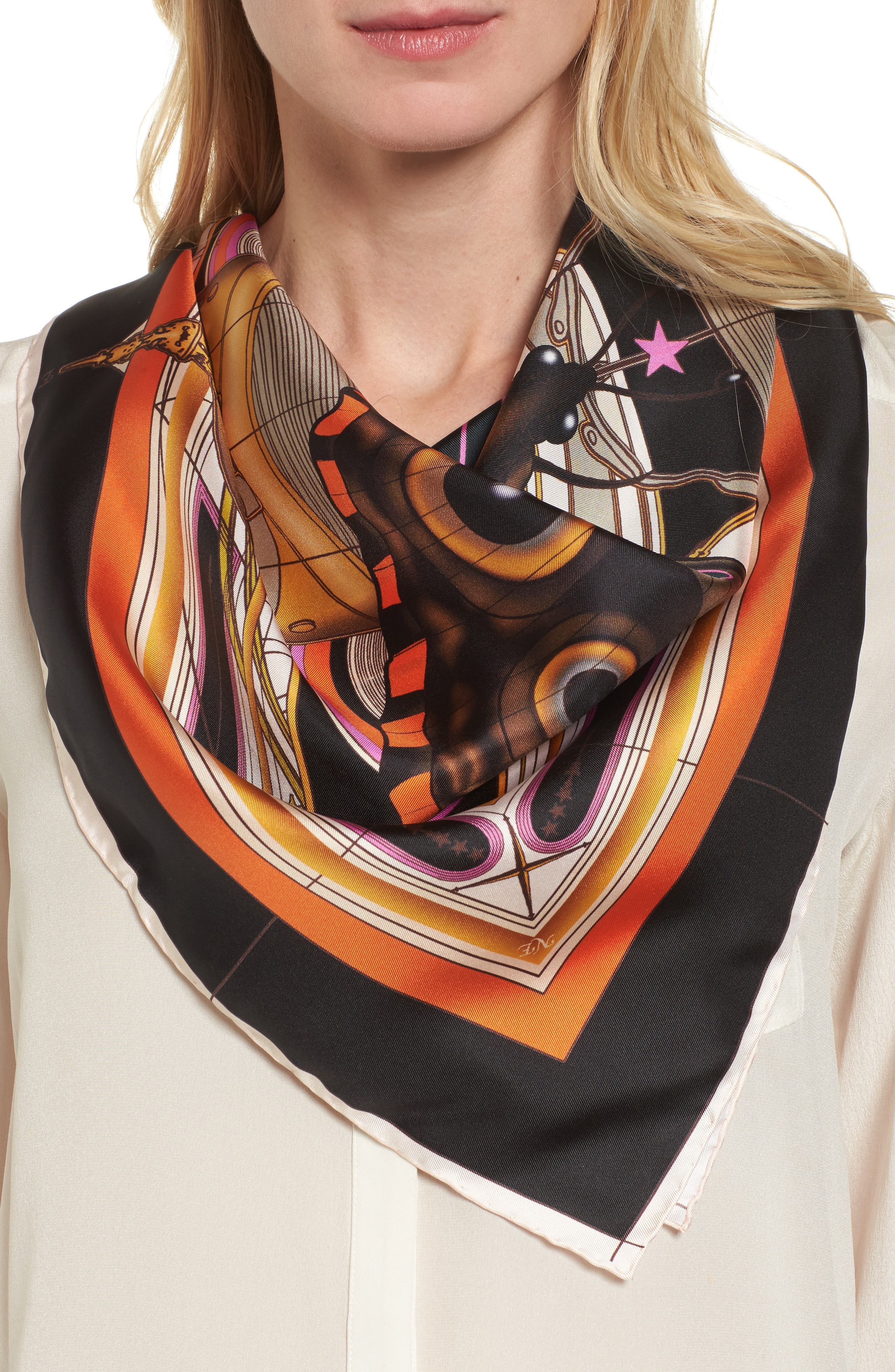 New Butterfly Silk Scarf,                         Main,                         color, 001