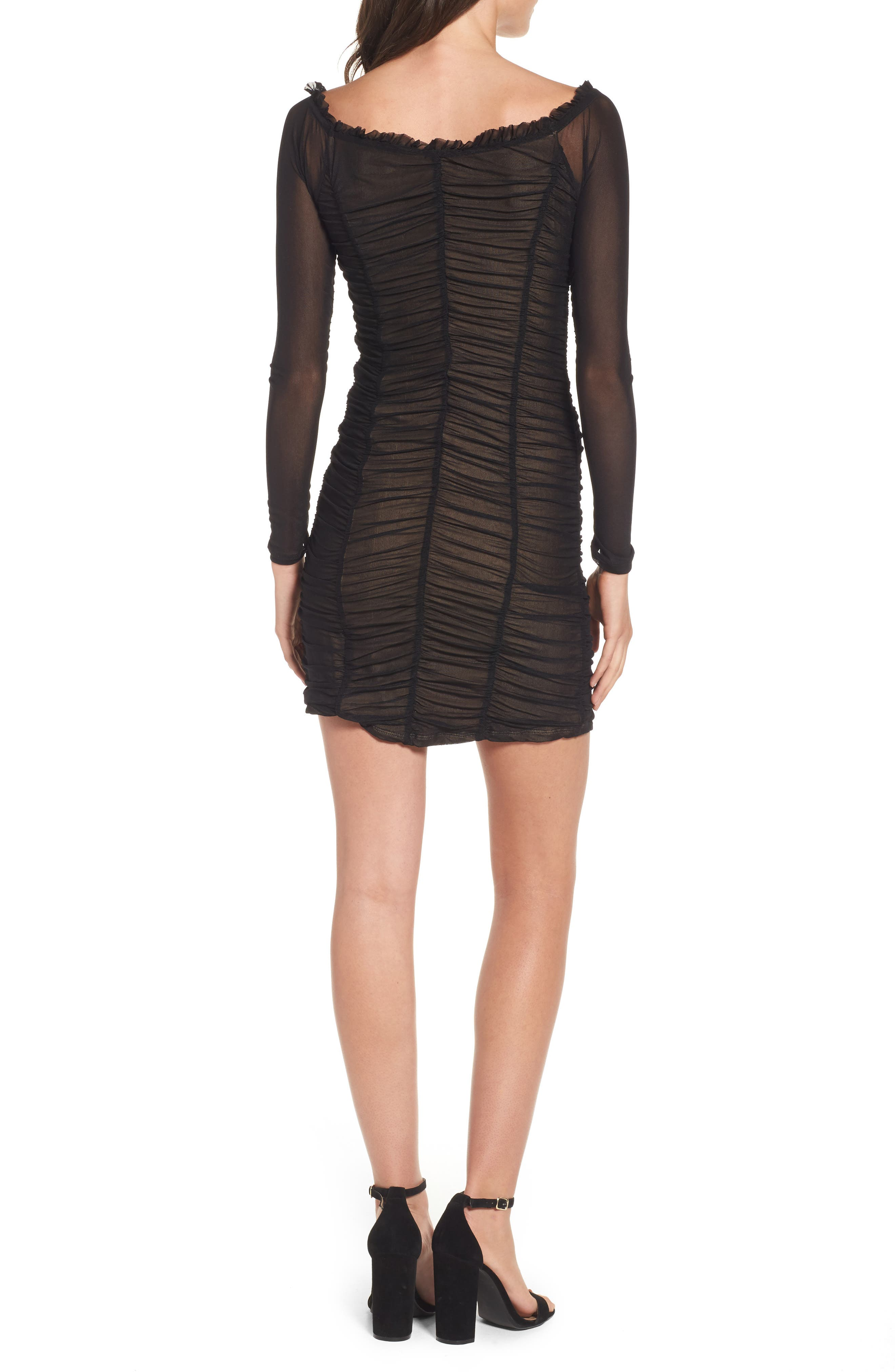 Jardin Ruched Body-Con Dress,                             Alternate thumbnail 2, color,                             001