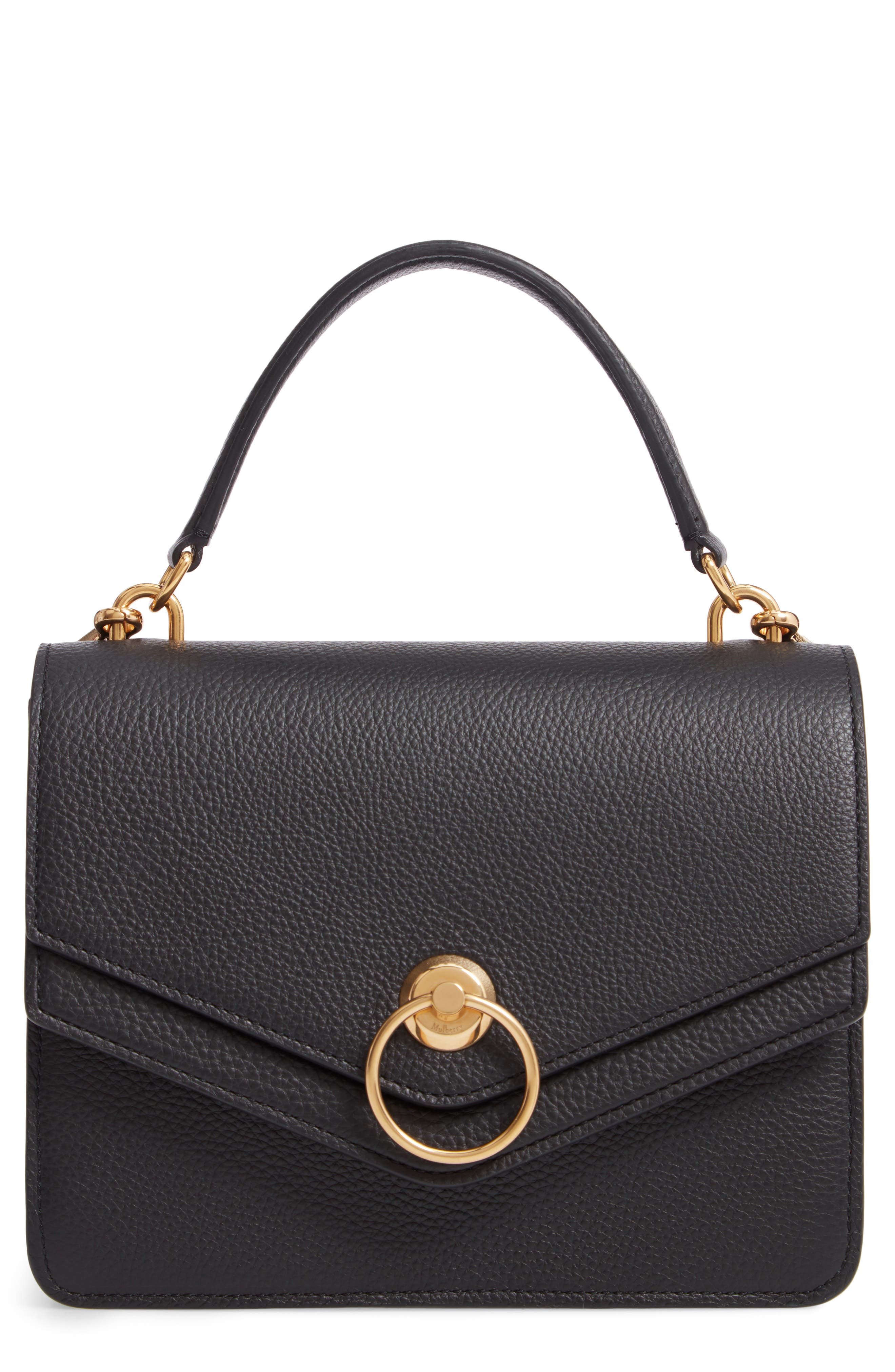 Mulberrry Harlow Calfskin Leather Satchel,                             Main thumbnail 1, color,                             BLACK