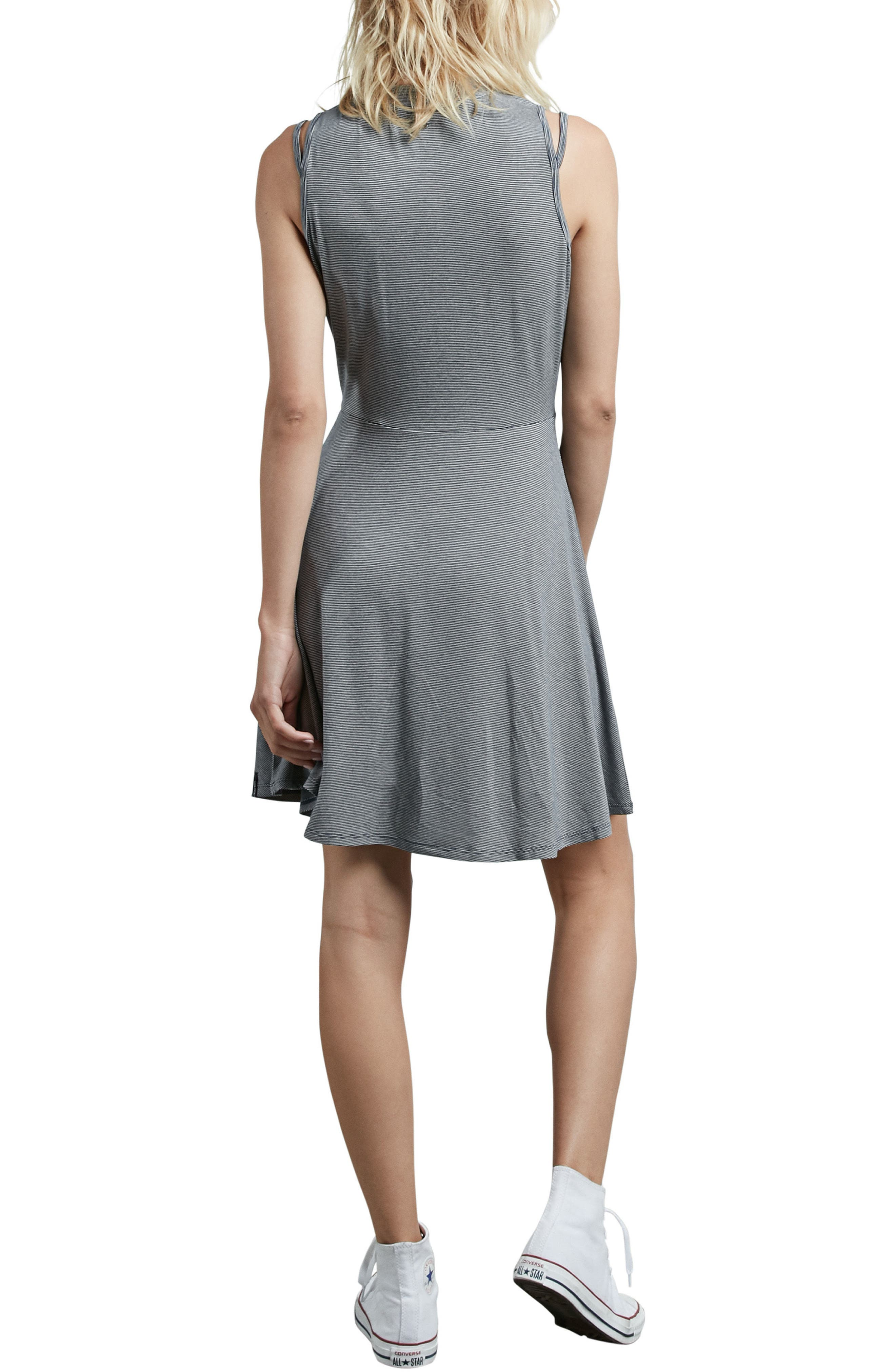 Open Arms Strappy Skater Dress,                             Alternate thumbnail 2, color,                             100