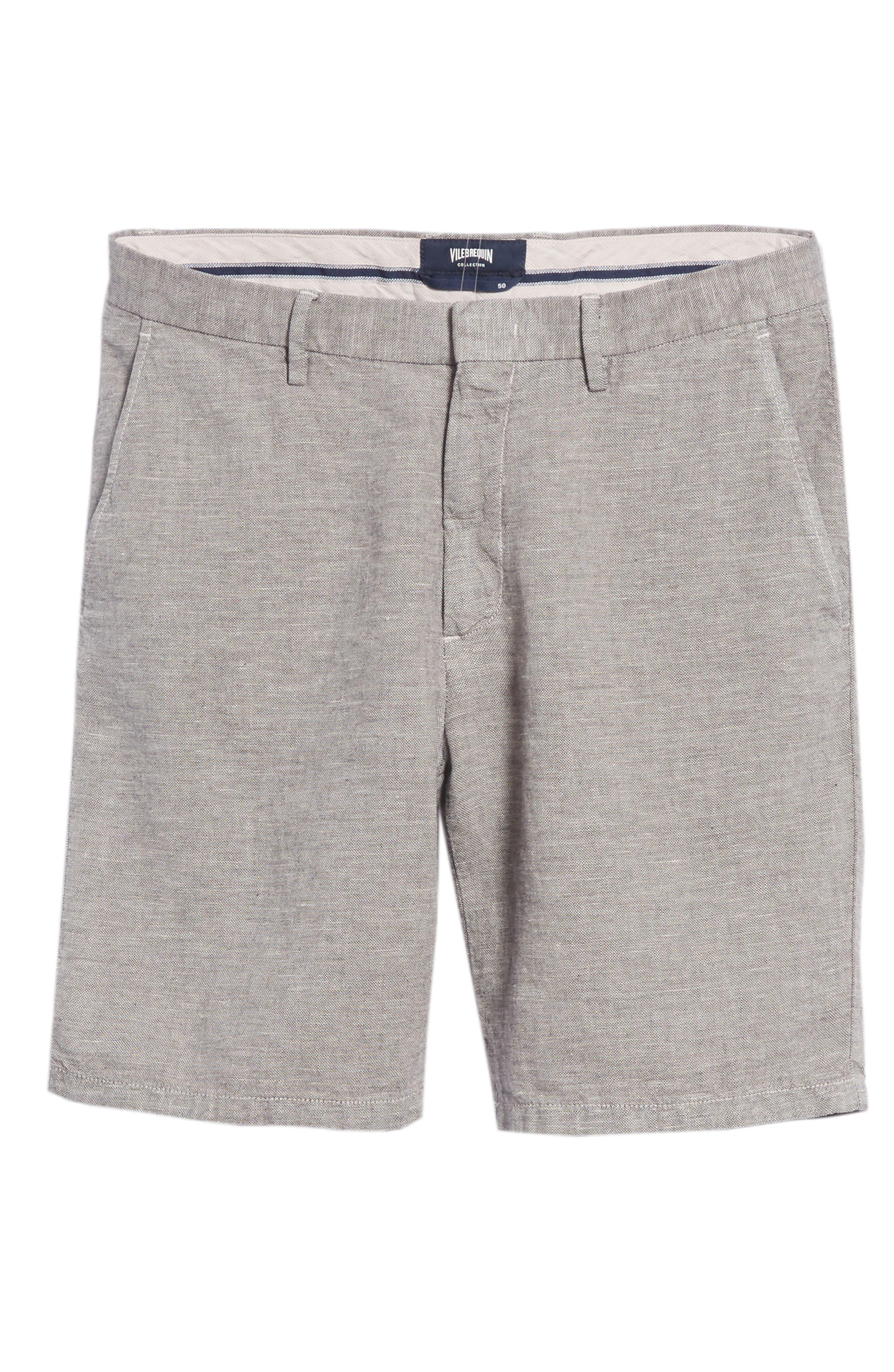 Panama Linen & Cotton Chino Shorts,                             Alternate thumbnail 6, color,                             LIMESTONE