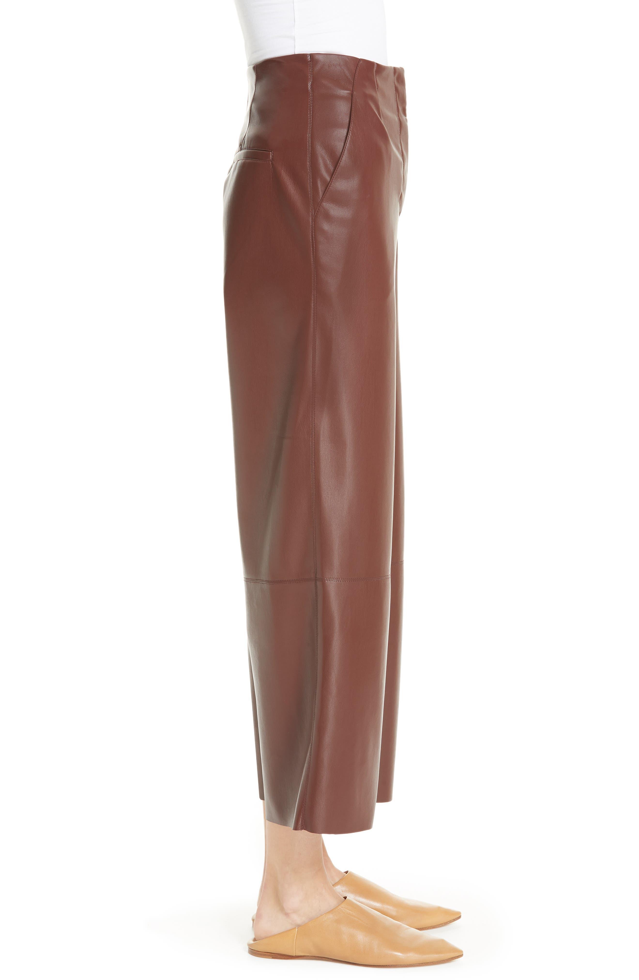 Africa Faux Leather Wide Leg Crop Pants,                             Alternate thumbnail 3, color,                             PLUM CHUTNEY