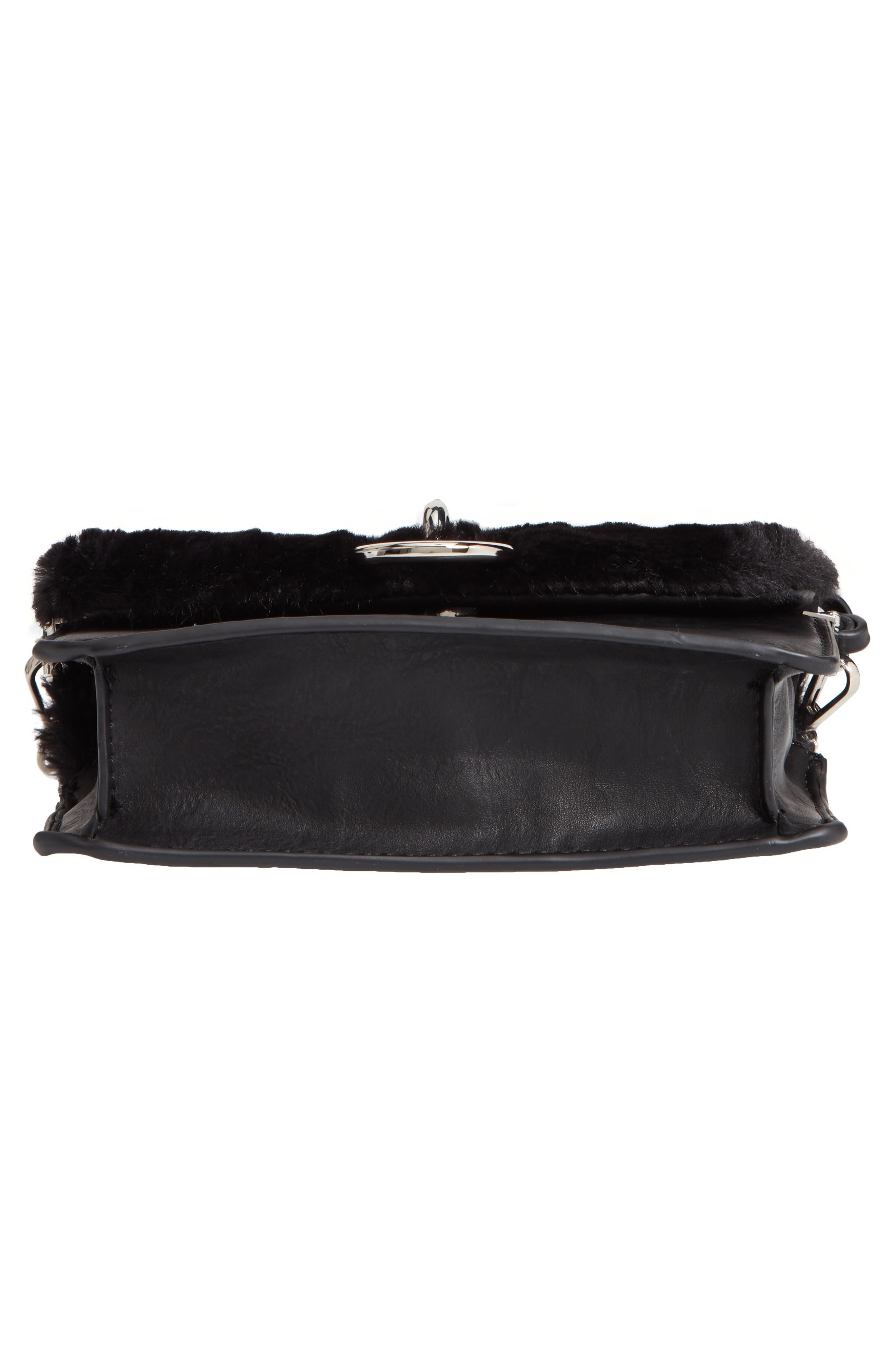 Lebra Faux Fur Crossbody Bag,                             Alternate thumbnail 6, color,                             BLACK