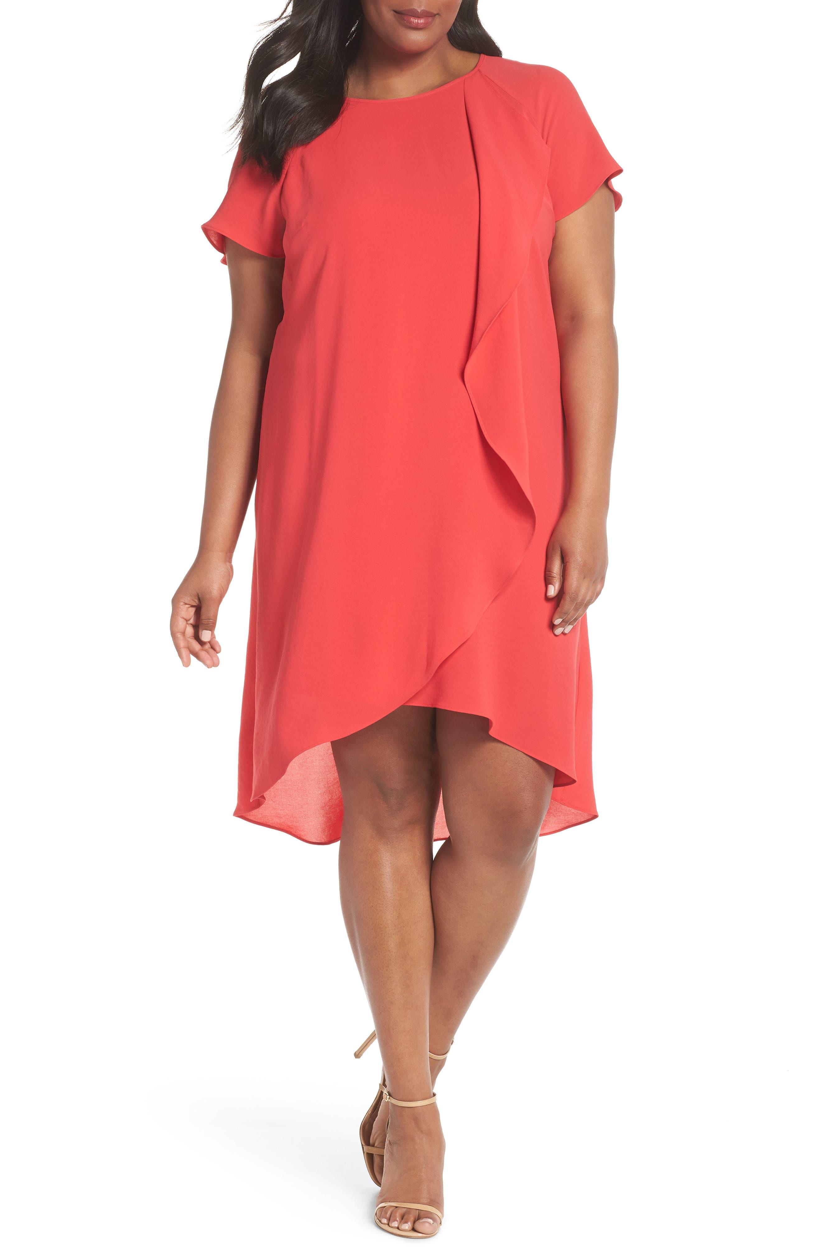 Crepe Ruffle Drape Shift Dress,                         Main,                         color, GERANIUM